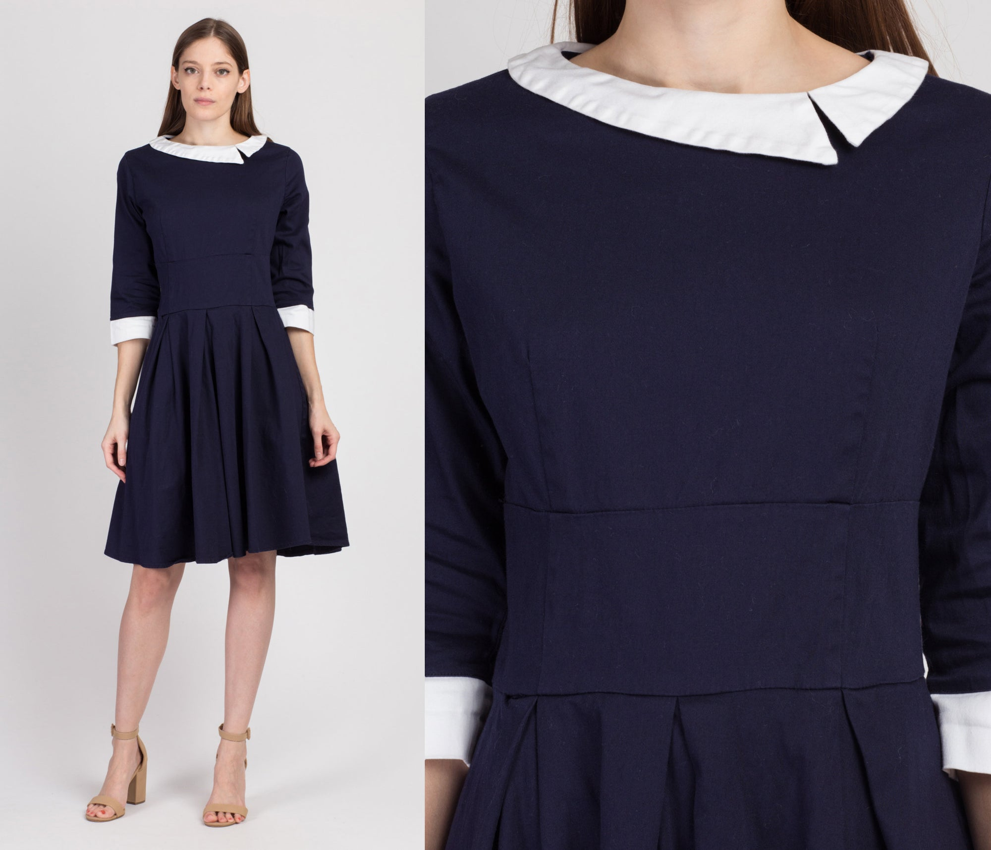 Vintage Navy Blue & White Sailor Collar Dress - Medium to Large