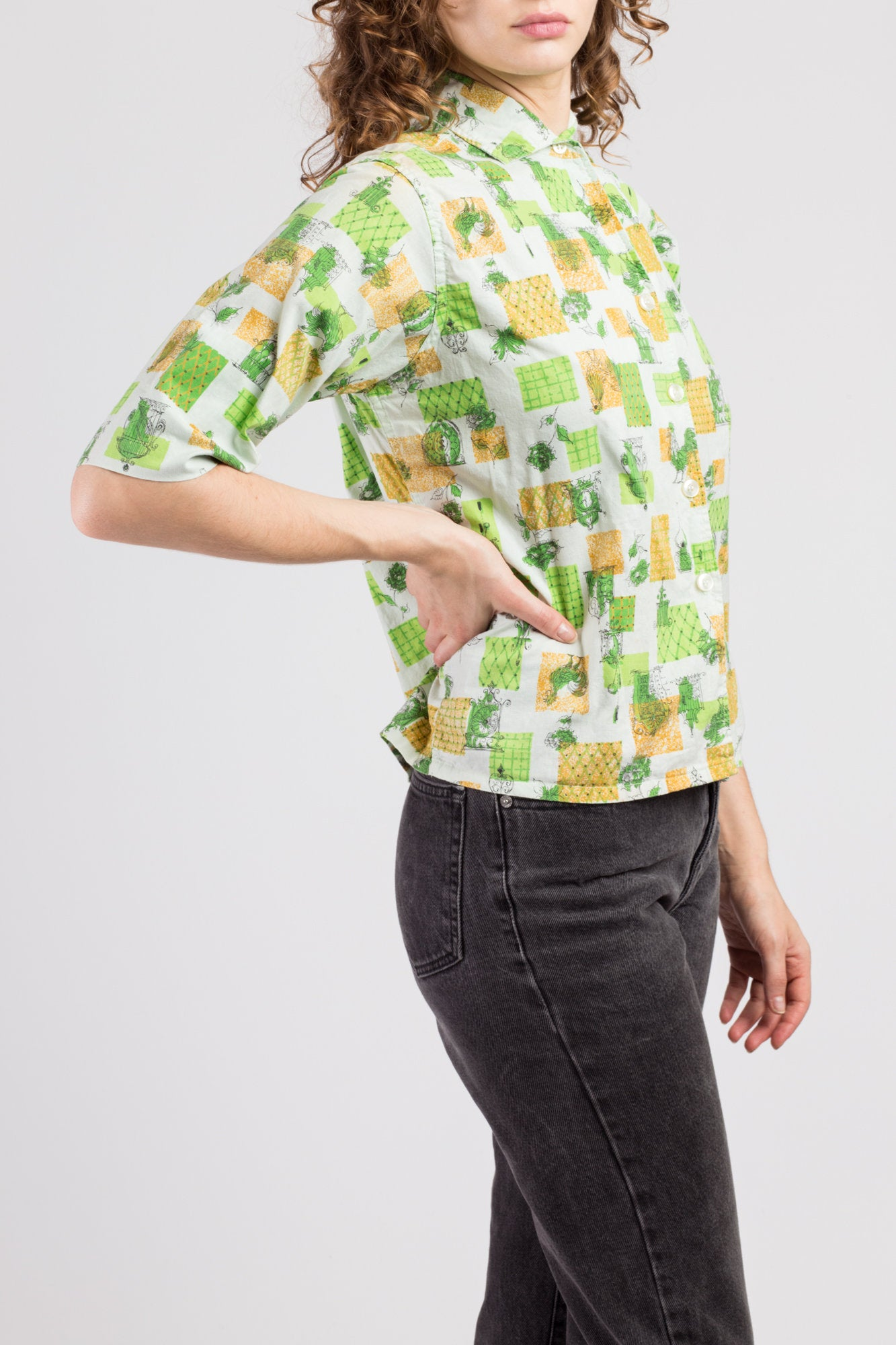 60s Novelty Print Collared Blouse - Small