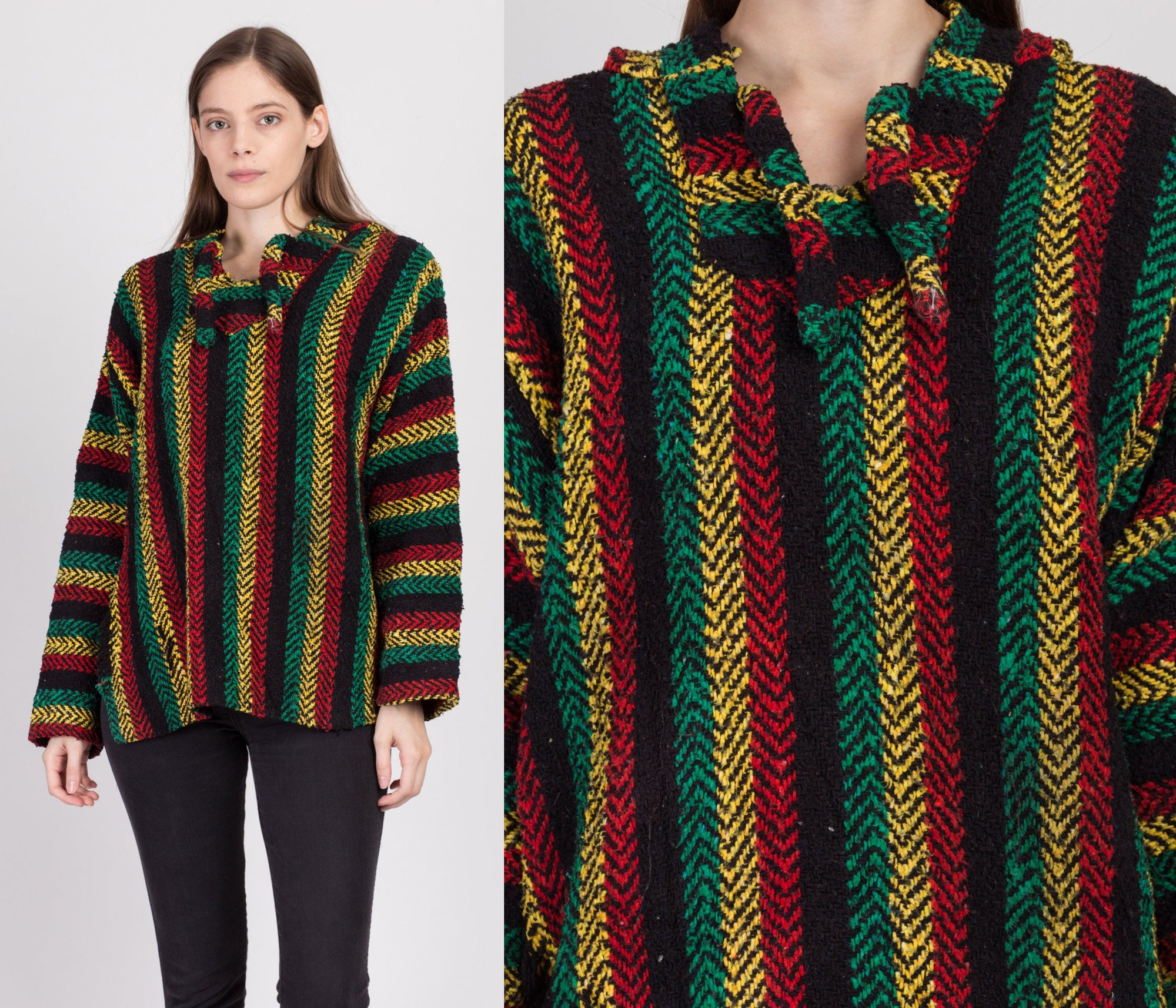 90s Rasta Striped Drug Rug Hoodie - Large
