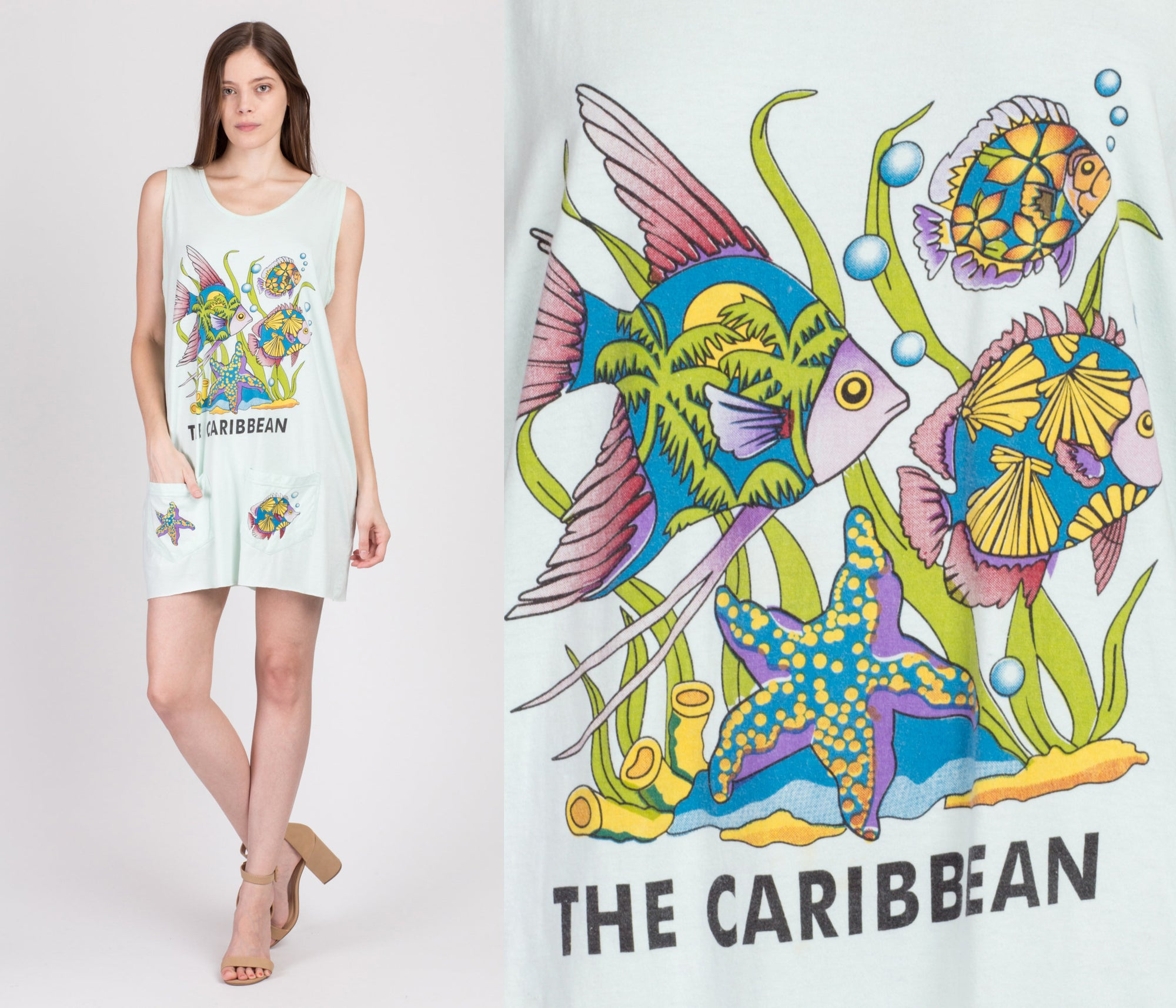 90s Caribbean Tropical Fish Mini Dress - One Size