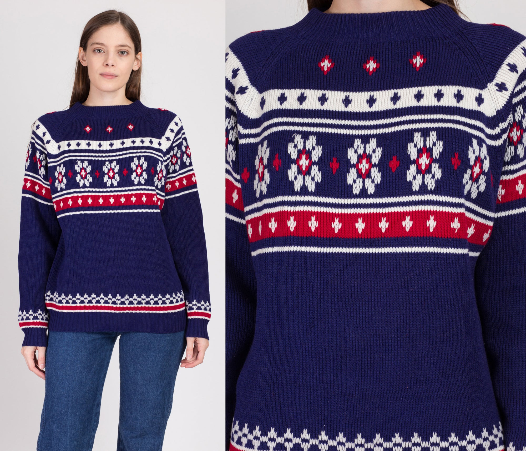 Vintage Fair Isle Ski Sweater - Large