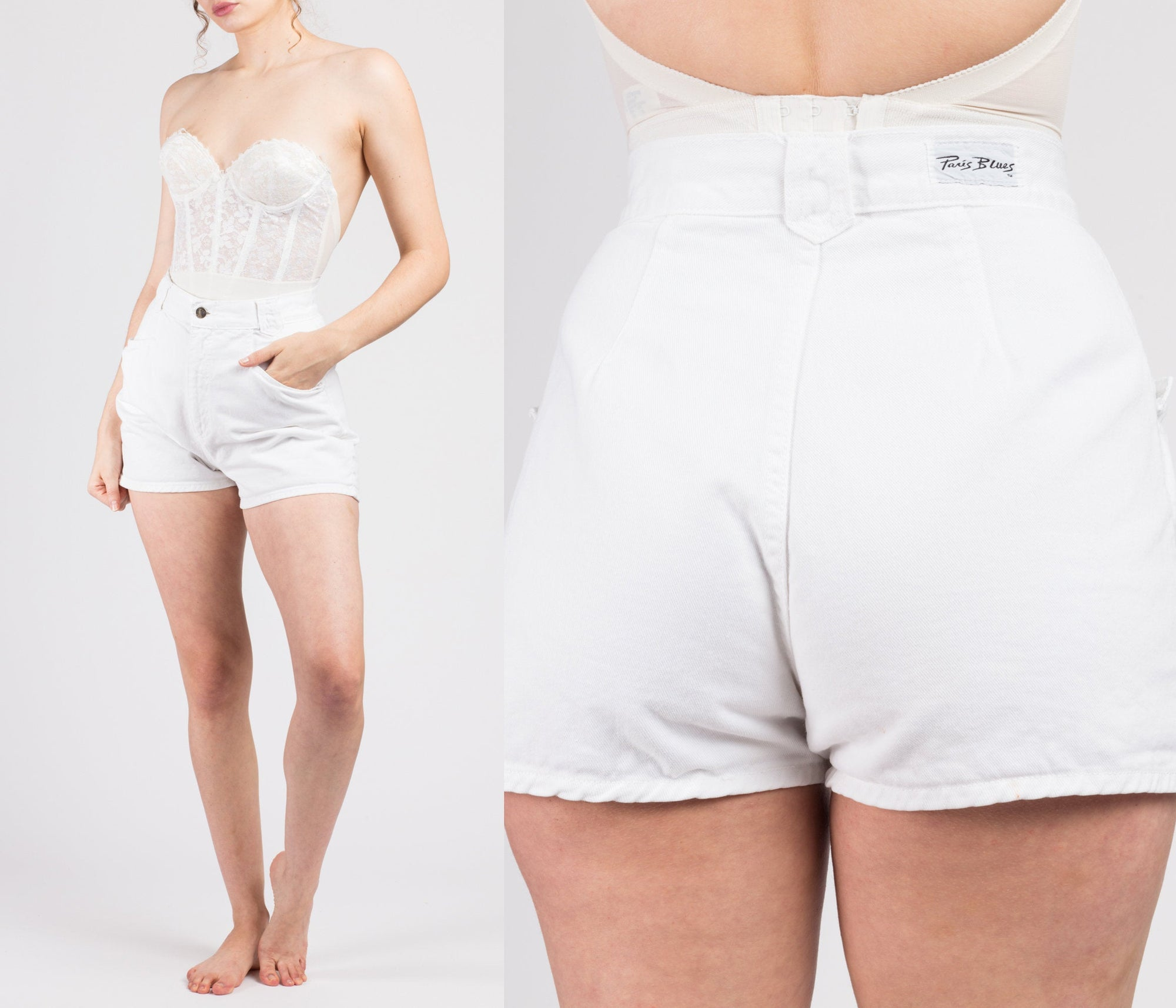 90s White Denim High Waisted Shorts - Small