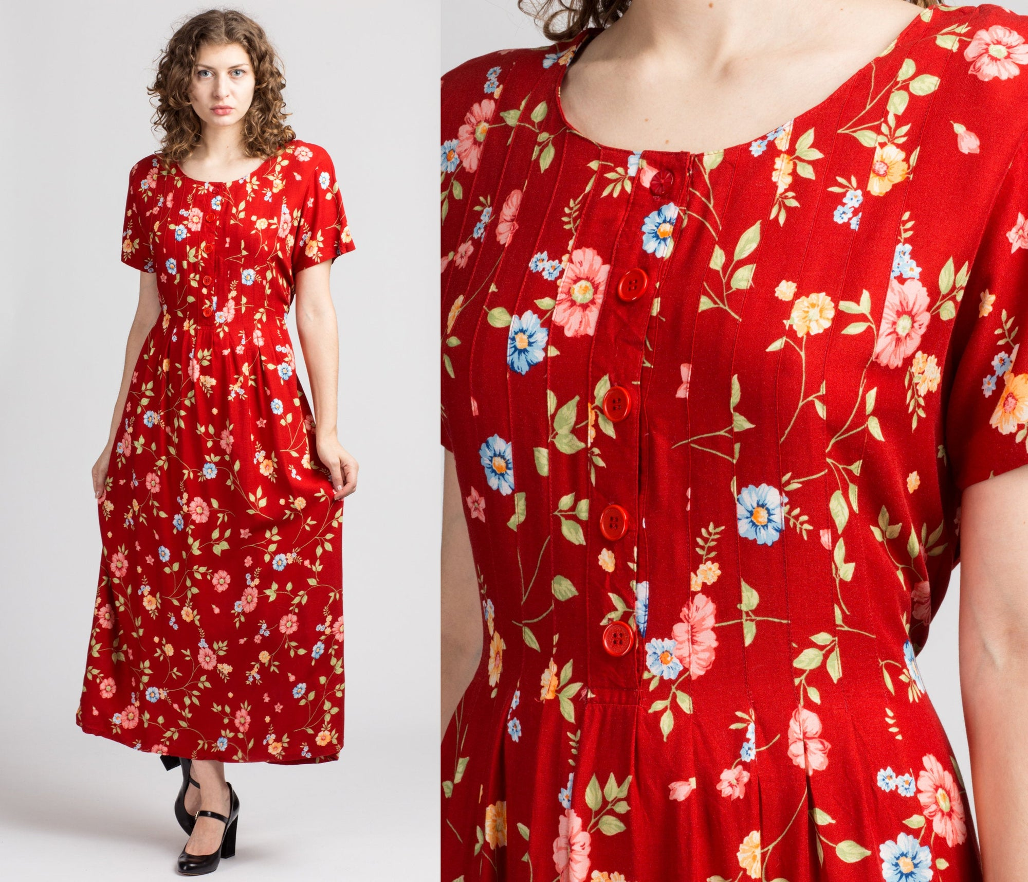 90s Red Floral Maxi Dress - Extra Large