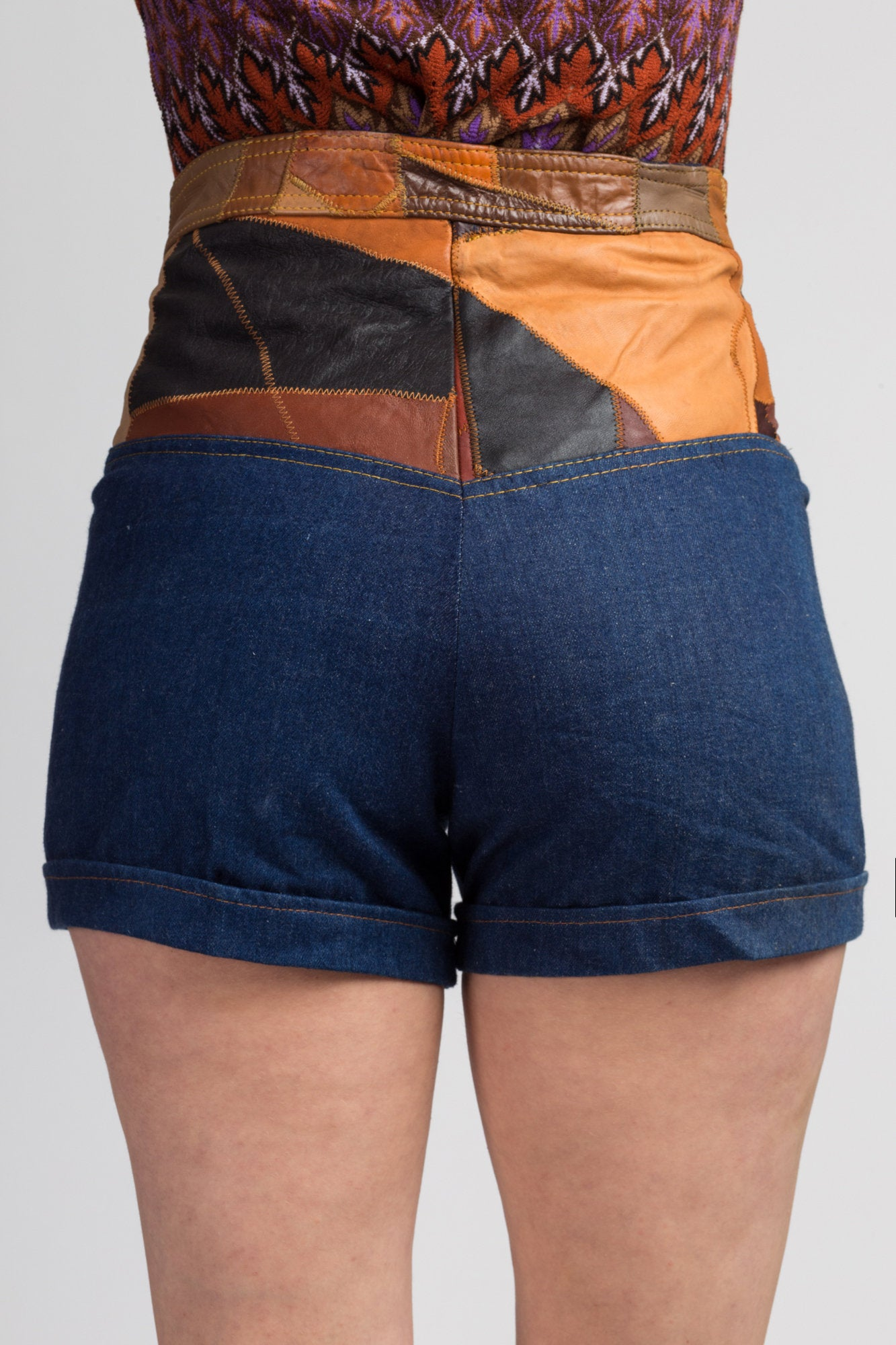 70s Leather Patchwork Jean Shorts - Small