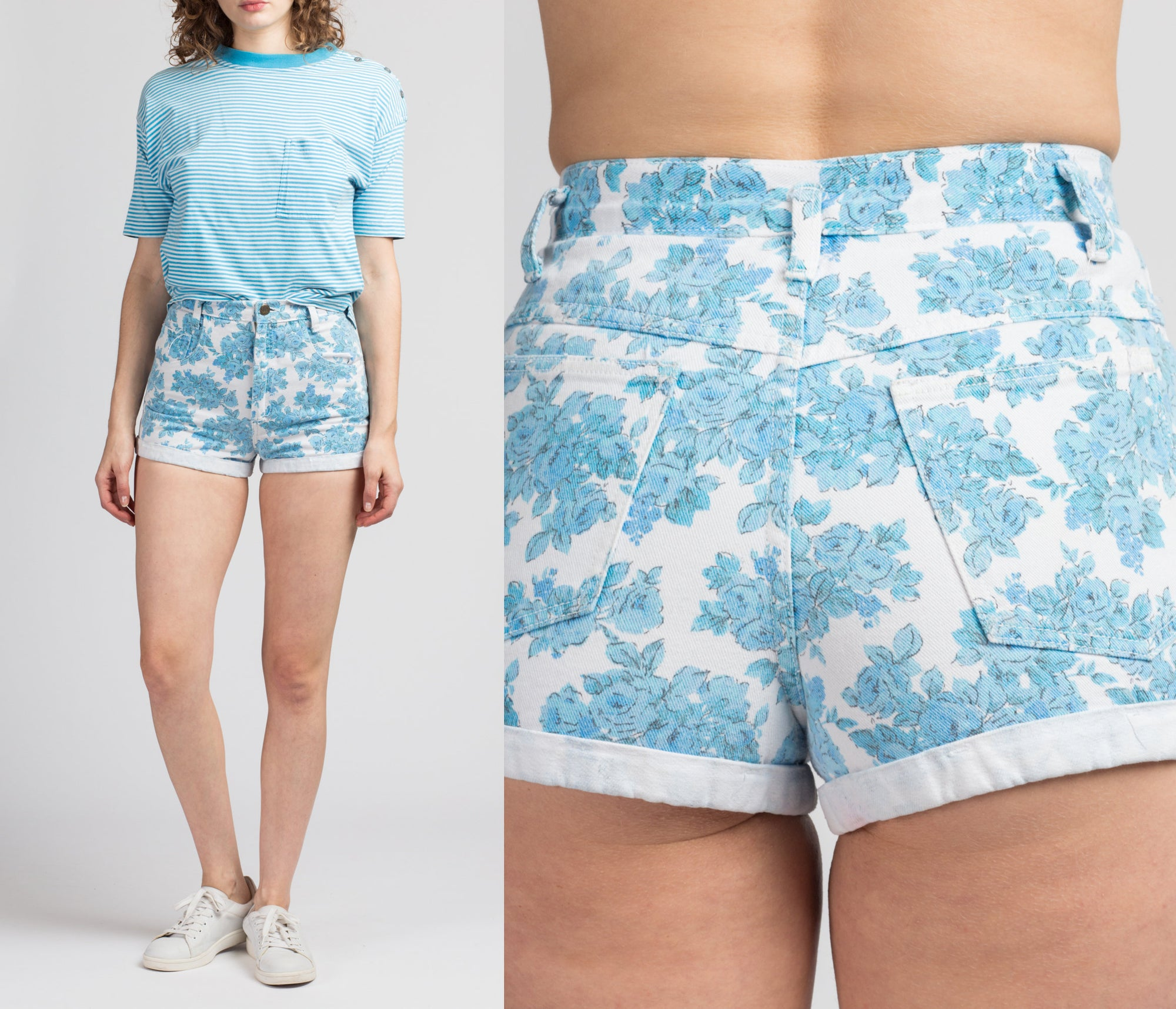 Vintage Contempo Casuals Floral Booty Shorts - Small, 26.5""