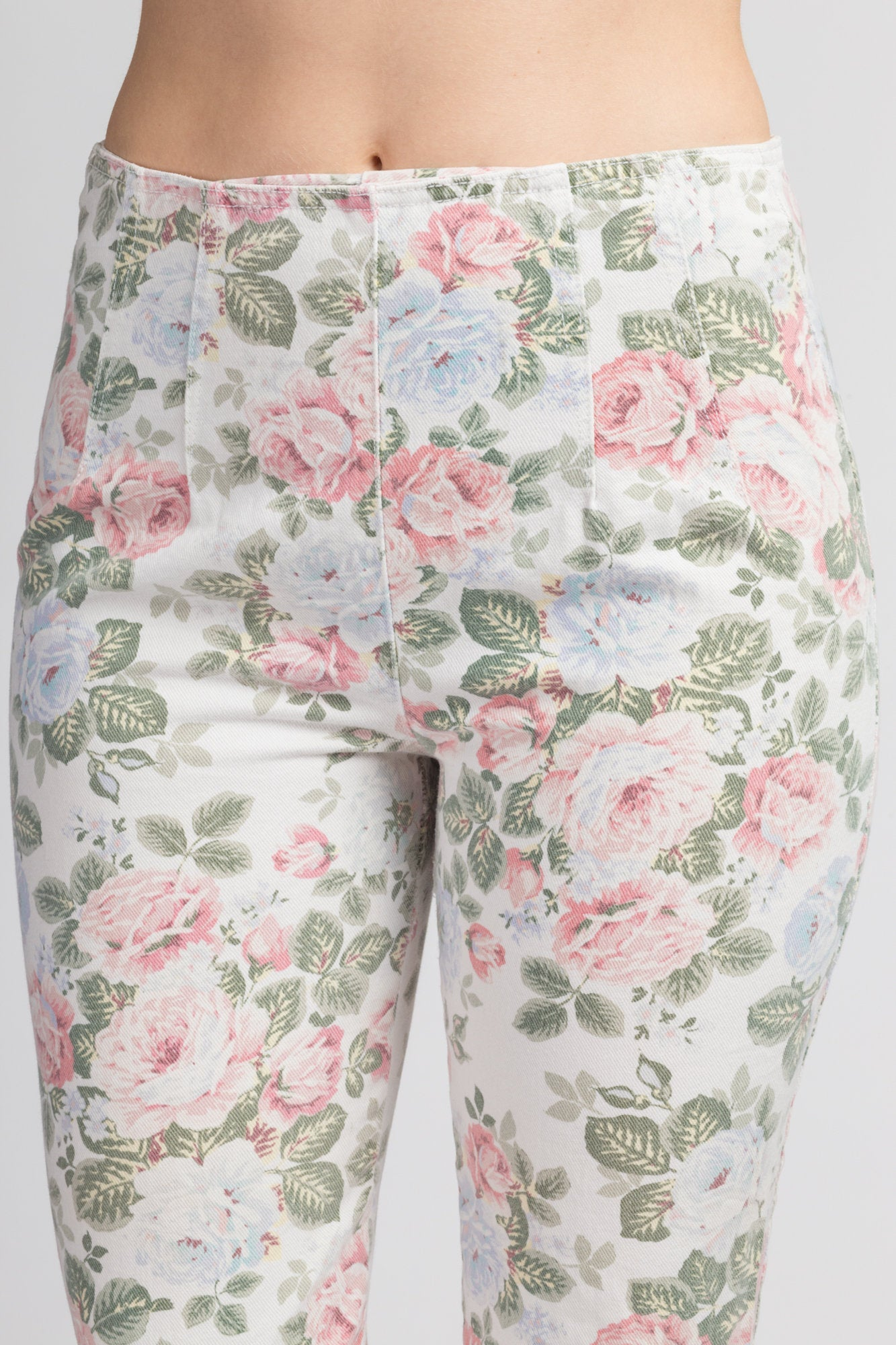 90s White Cropped Floral Jeans - Extra Small