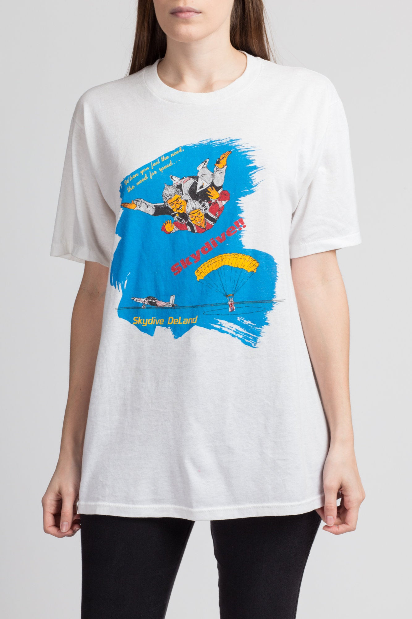 80s Skydiving Graphic Tee - Large to XL