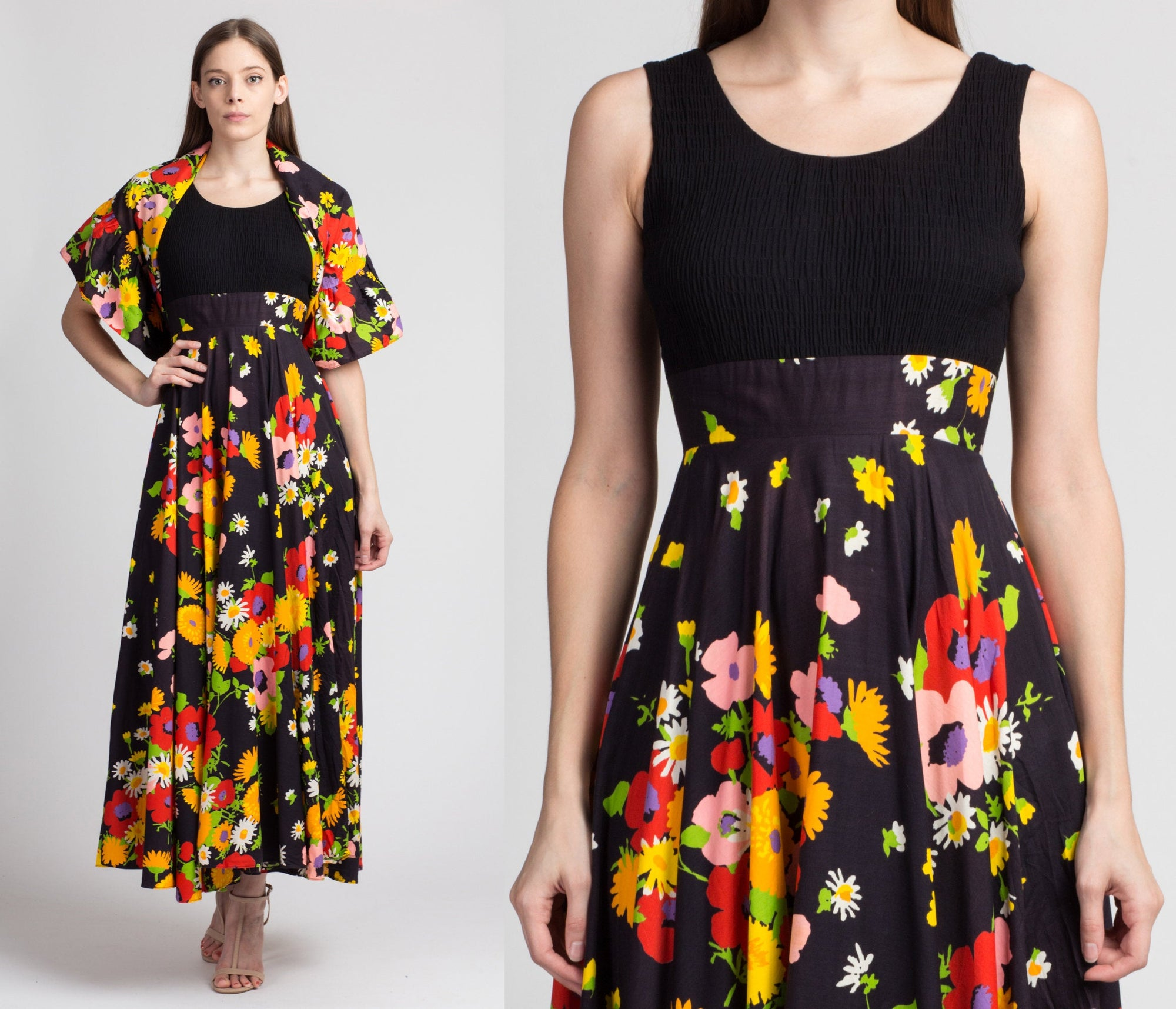 70s Floral Maxi Dress & Shawl - Extra Small