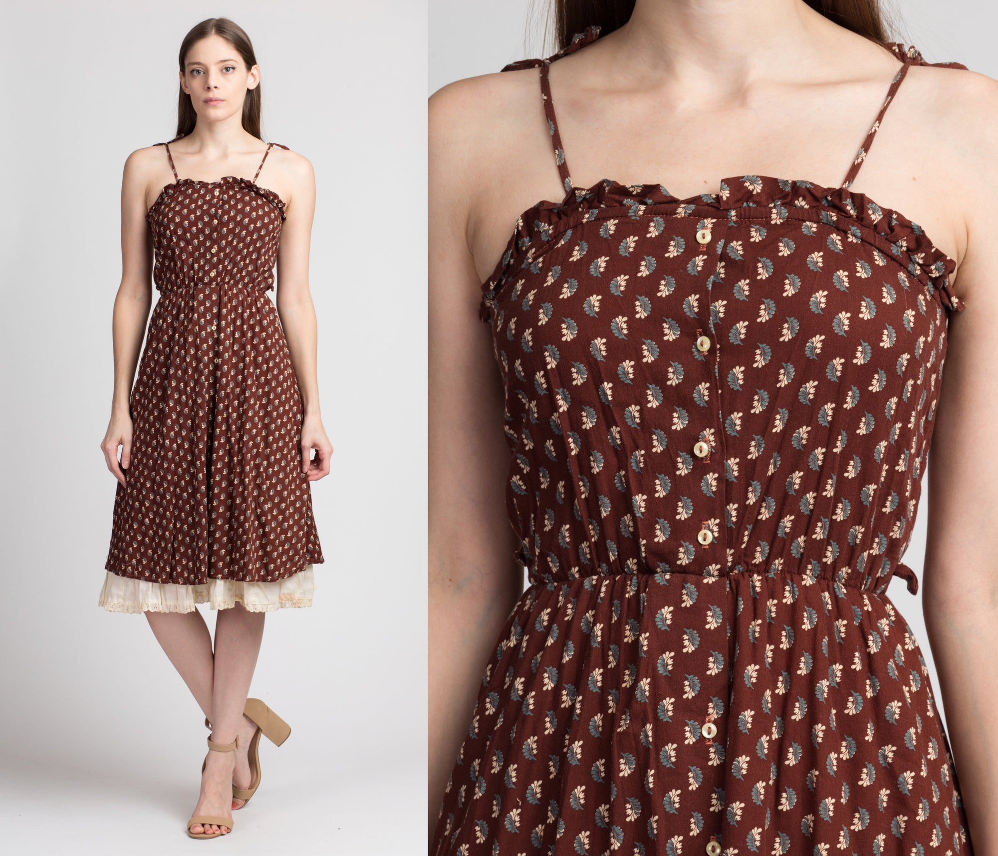 70s Boho Floral Eyelet Trim Sundress - Extra Small