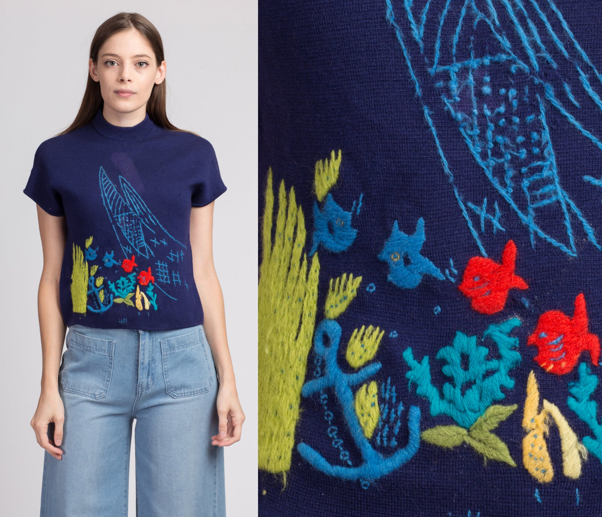 60s Novelty Embroidered Fish Sweater, As Is - Medium