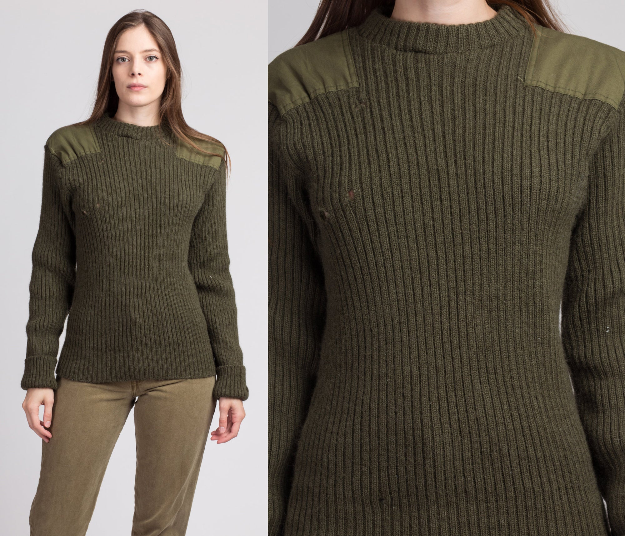 70s Army Green Commando Sweater - Large