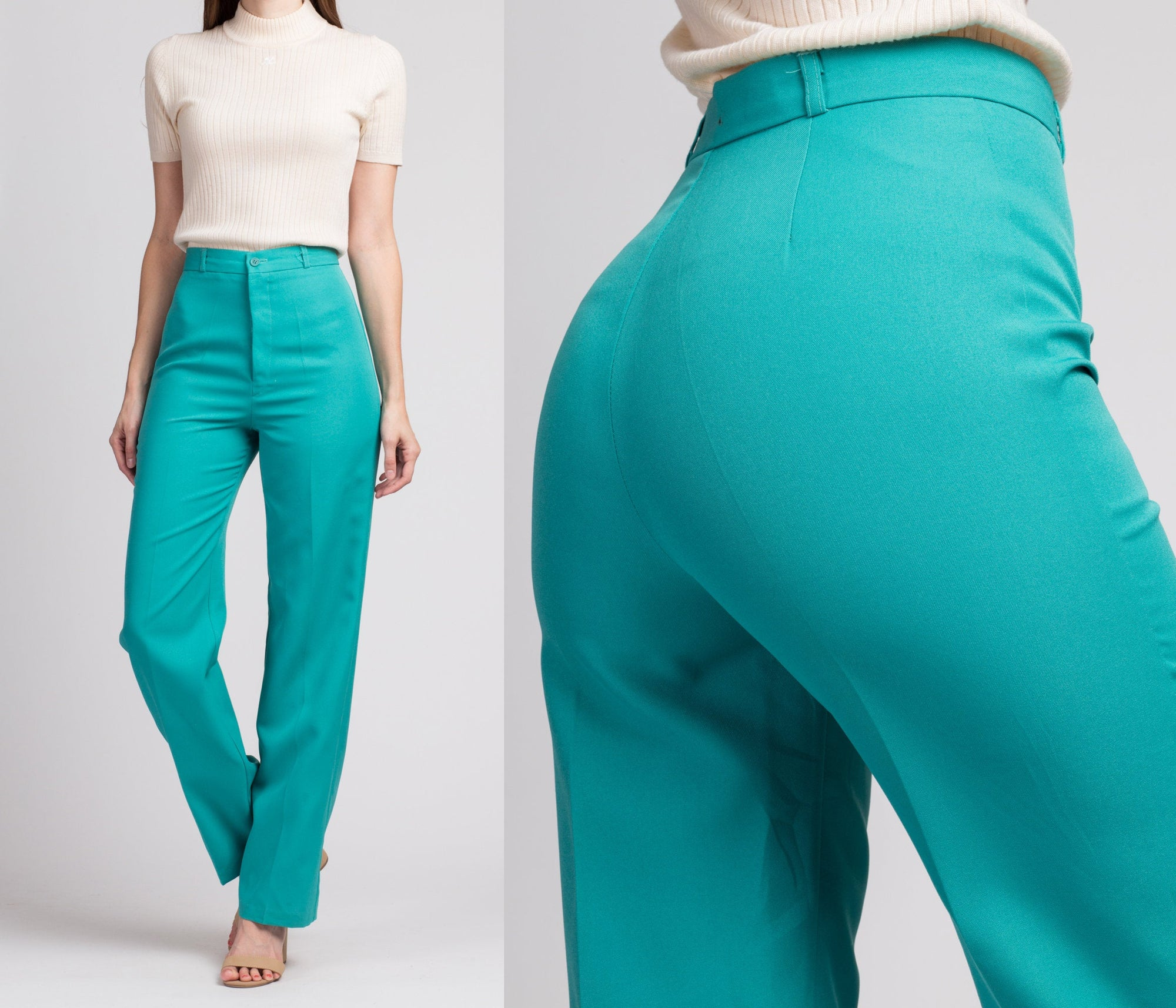 Vintage Turquoise High Waist Trousers - Small, 26""