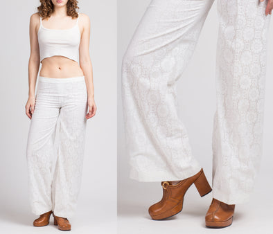 70s White Lace Wide Leg Pants - Extra Small to Petite Small