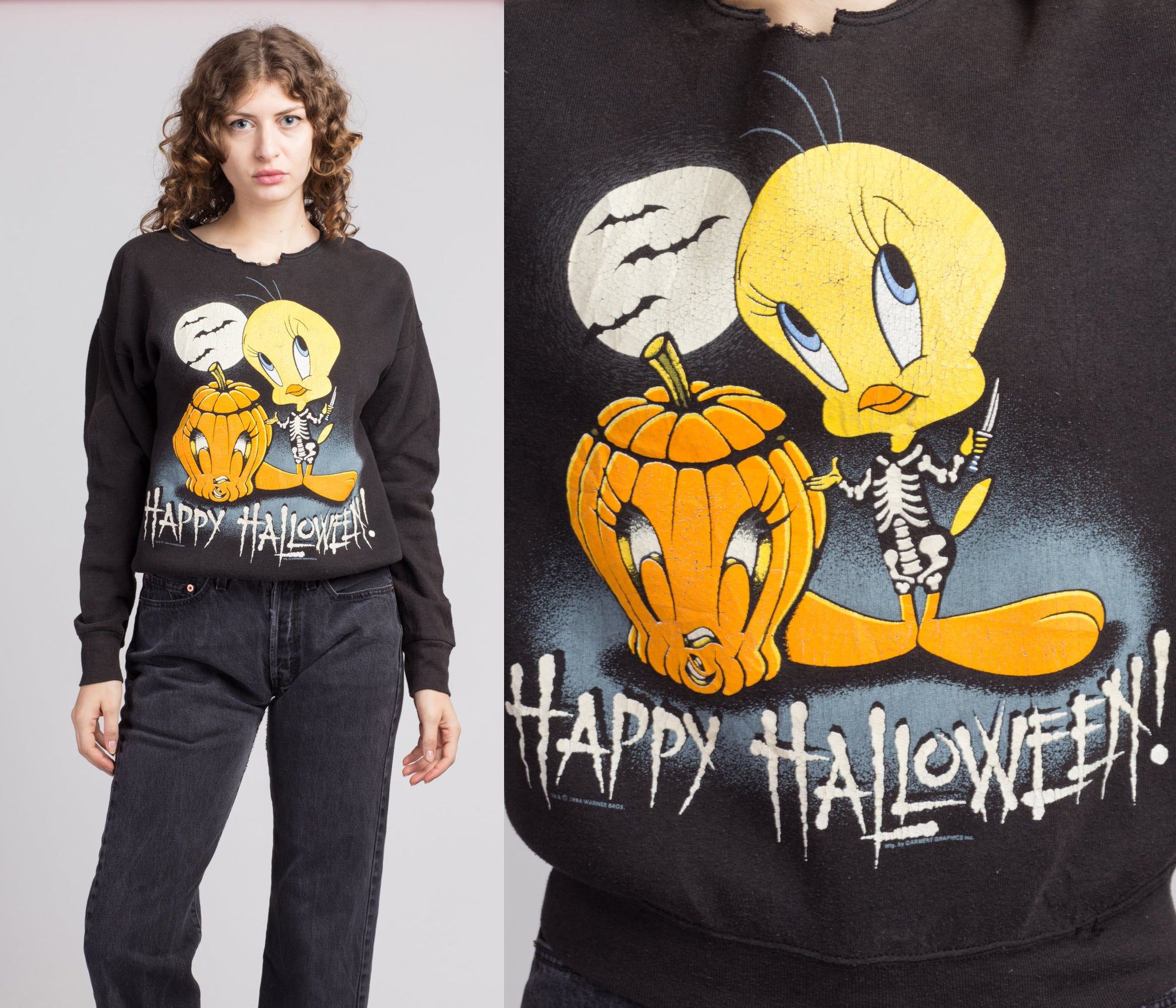 90s Tweety Bird Halloween Sweatshirt - Medium