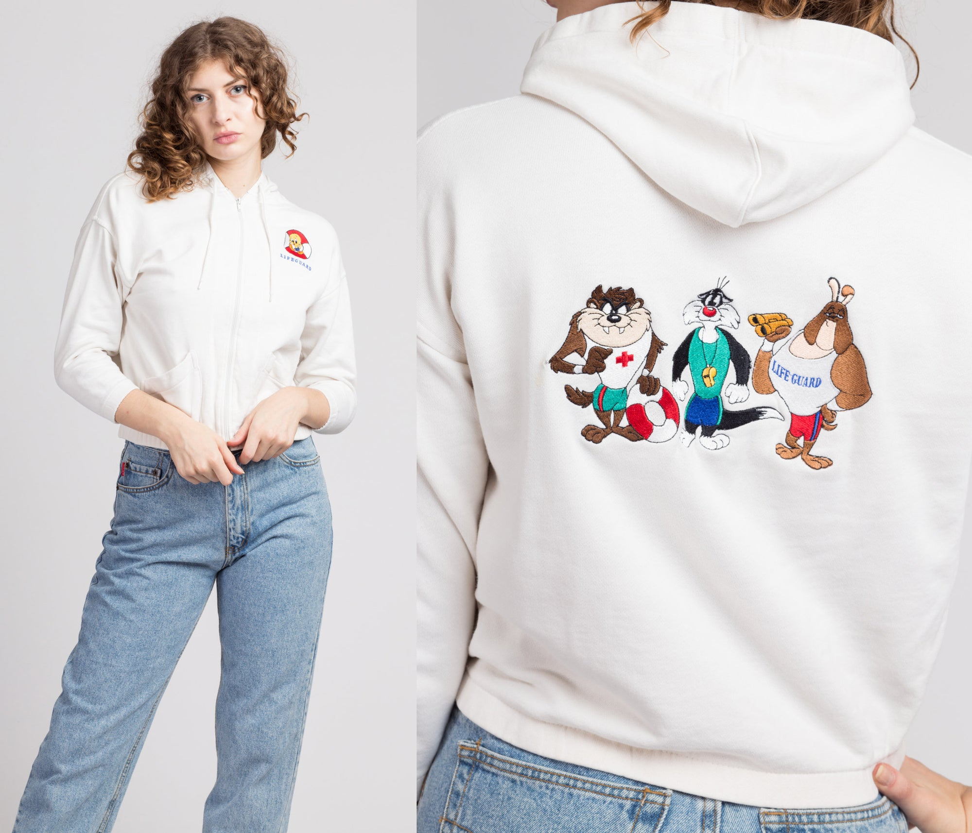 90s Looney Tunes Cropped Lifeguard Hoodie - Petite Small to Medium