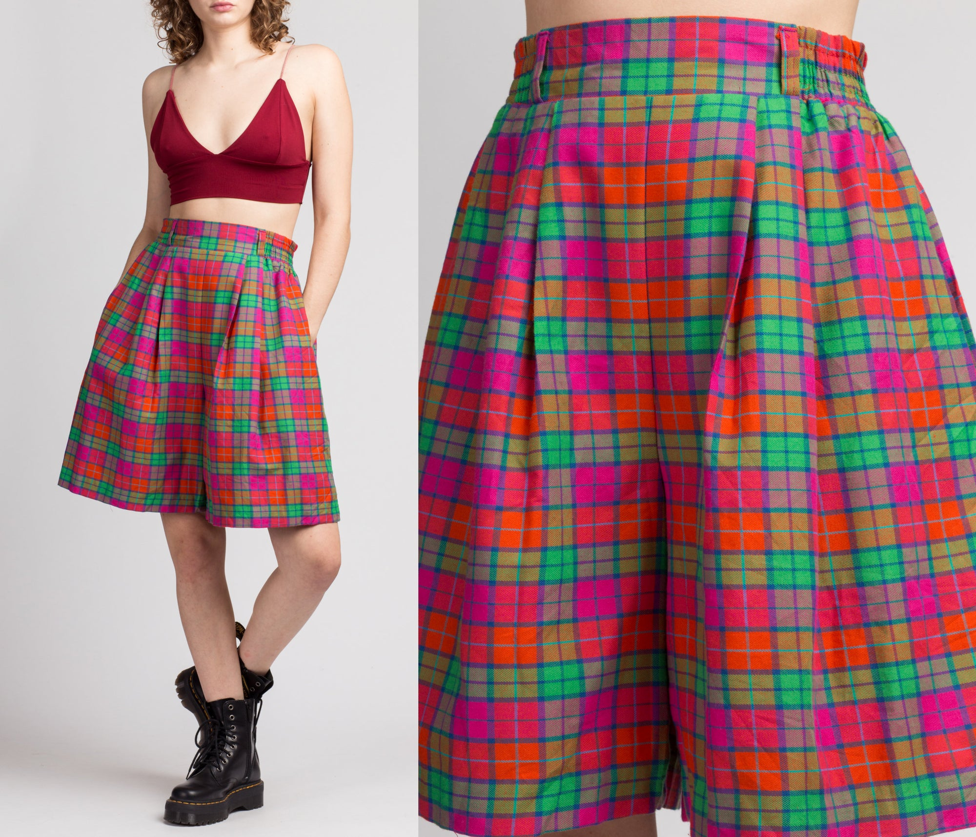 80s Plaid High Waist Shorts - Medium to Large