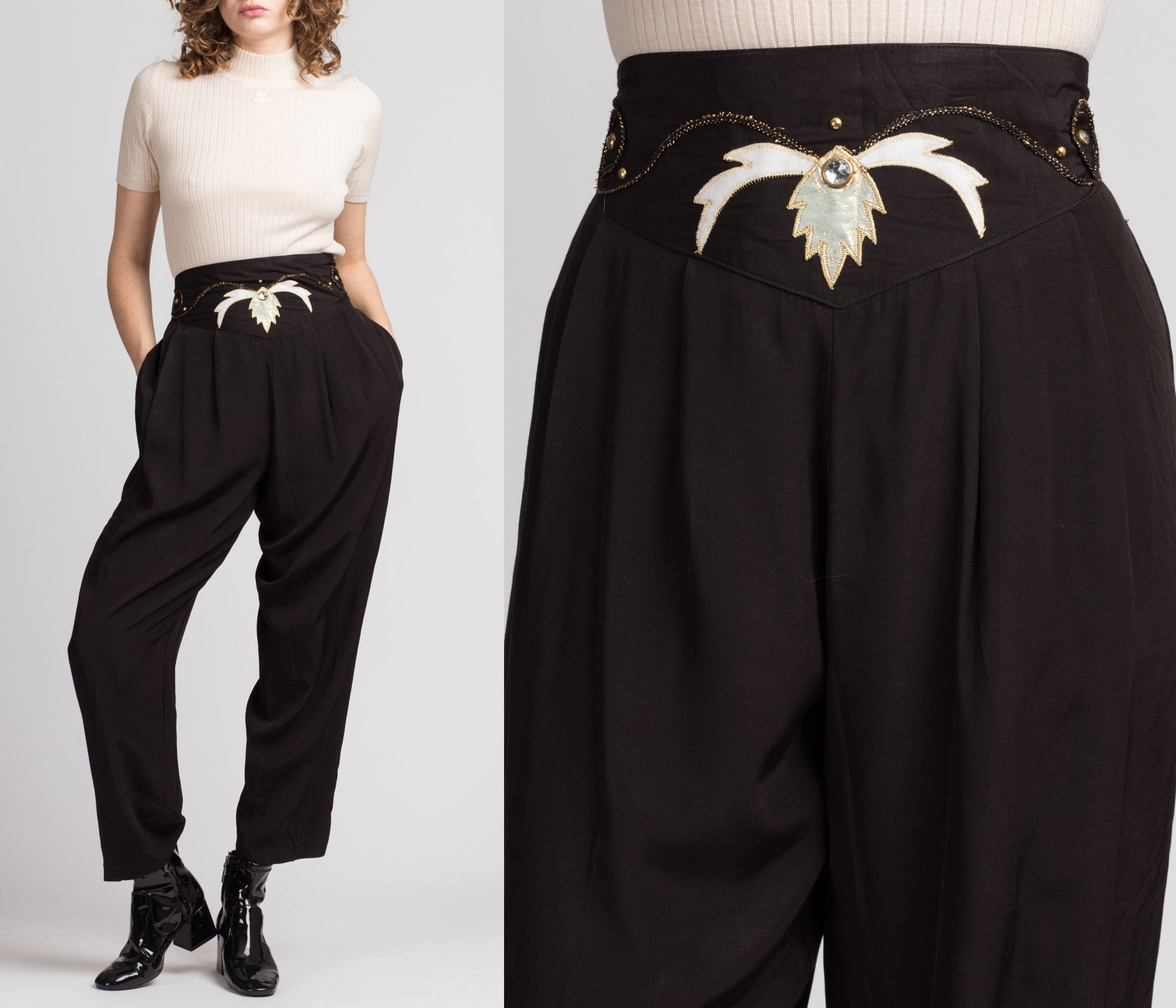 80s Black Jeweled High Waist Trousers - Extra Large