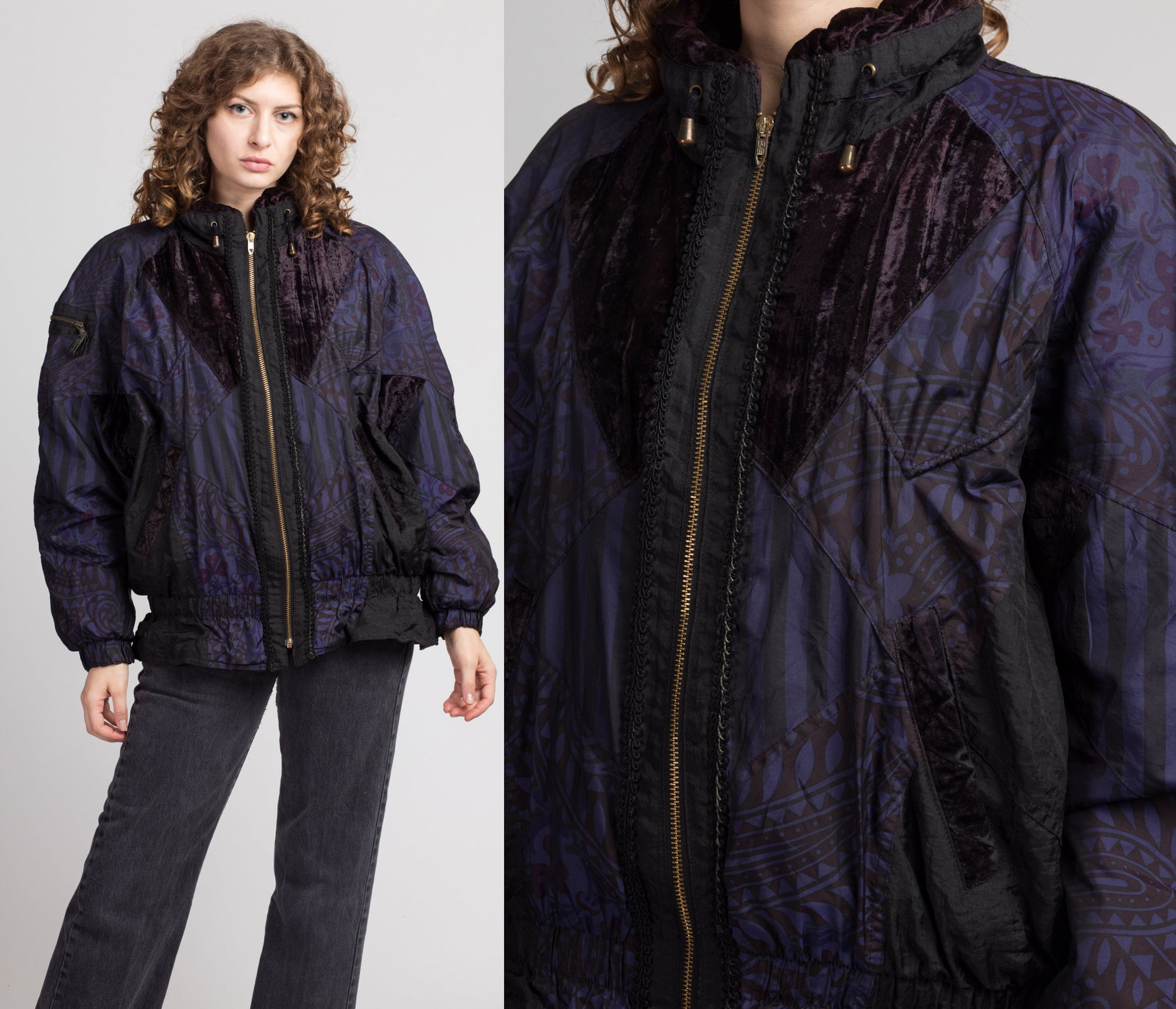 80s 90s Velvet Trim Oversize Abstract Print Windbreaker - Medium
