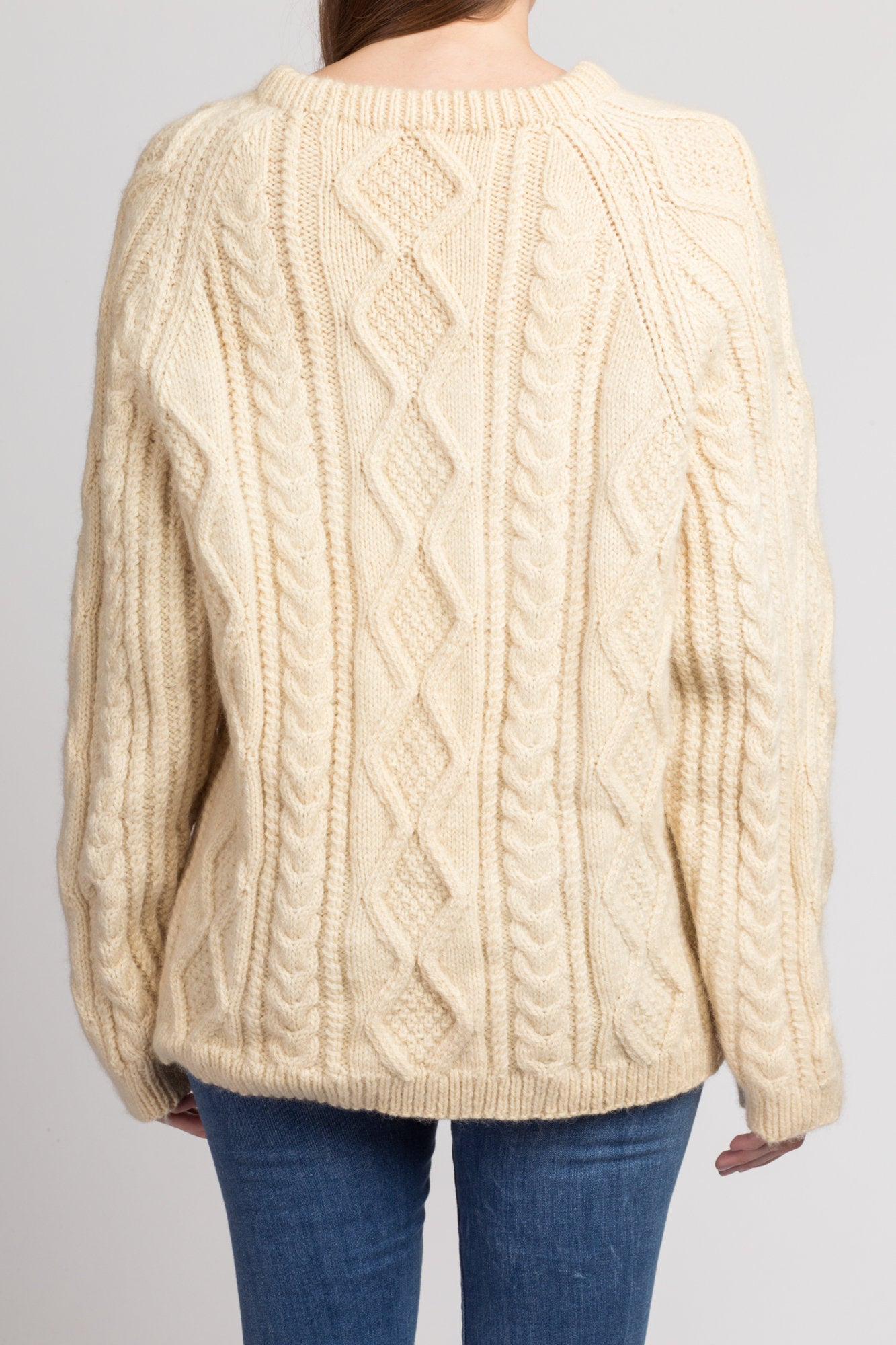 Vintage Cable Knit Fisherman Sweater - Men's Large
