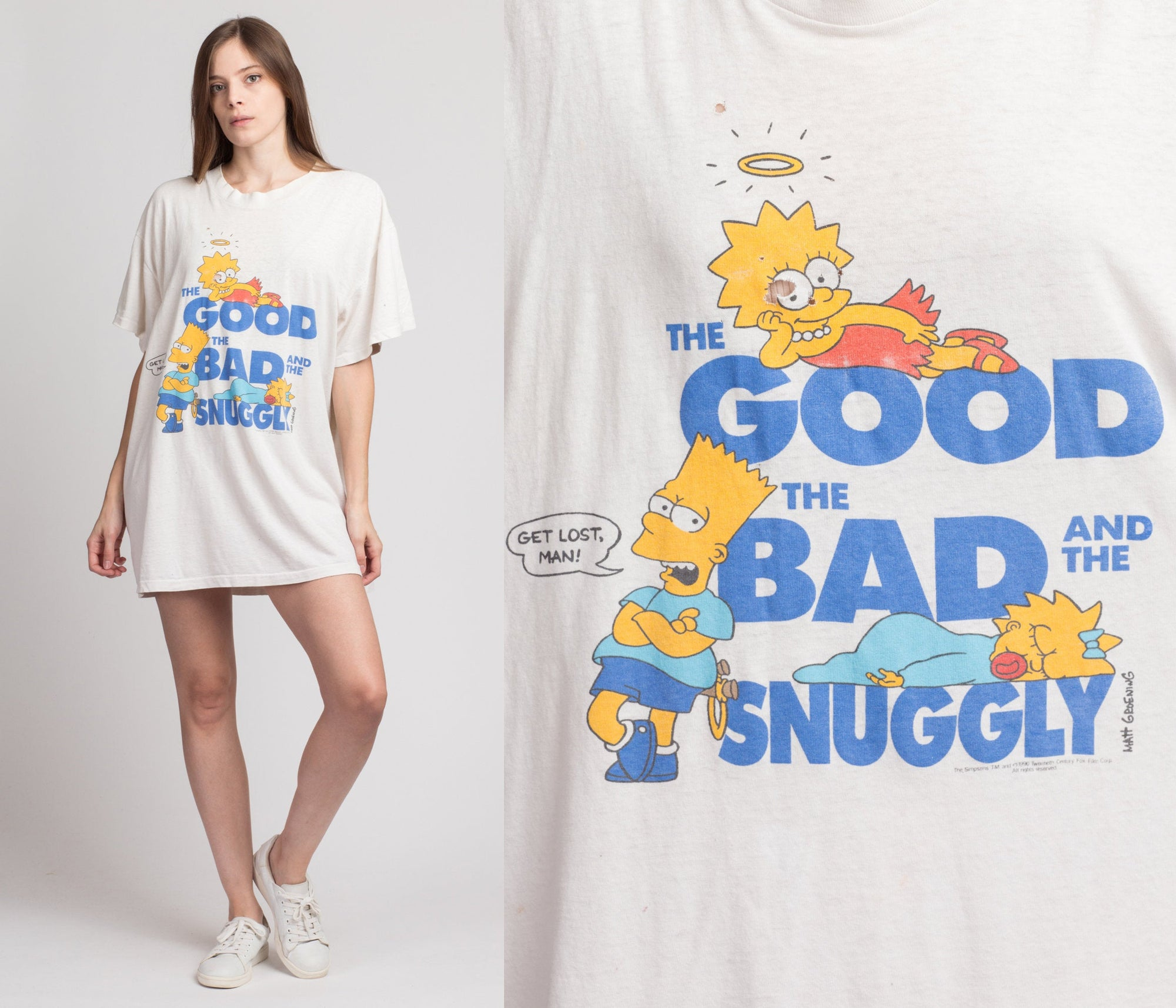 90s Simpsons Oversize T Shirt - One Size