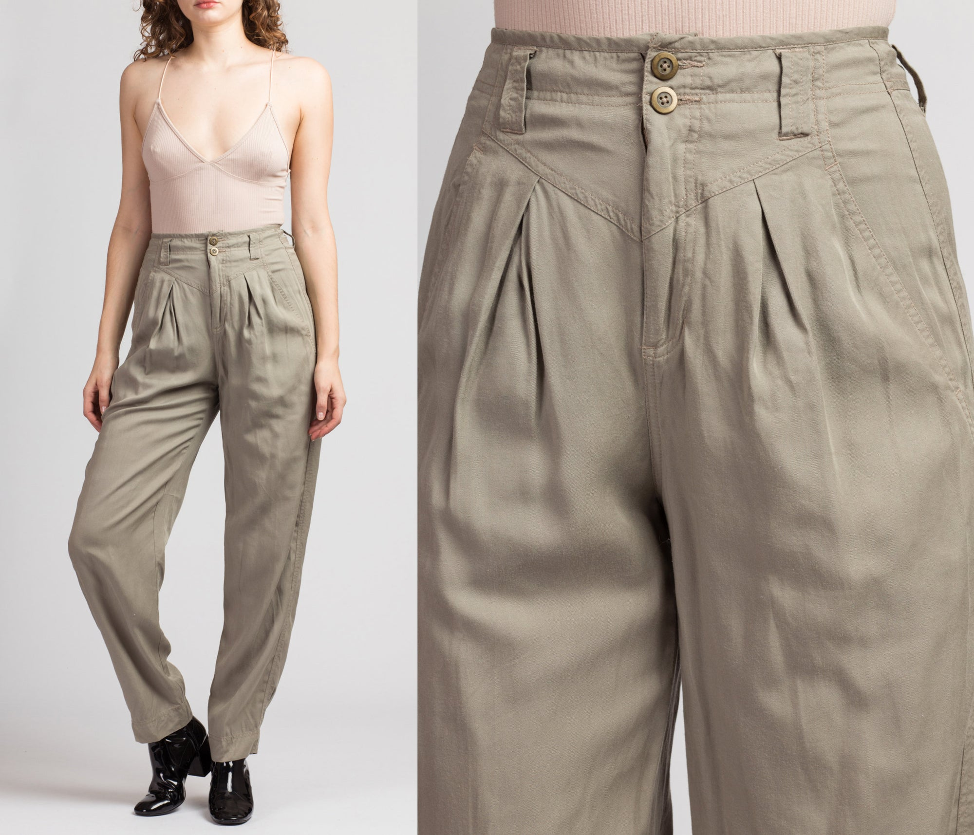 80s 90s Minimalist High Waist Pleated Trousers - Small, 26""
