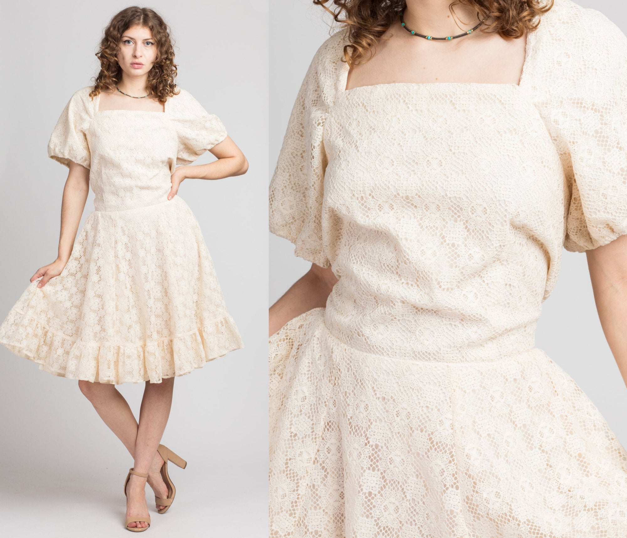 Vintage 70s Crochet Lace Puff Sleeve Mini Dress - Extra Large