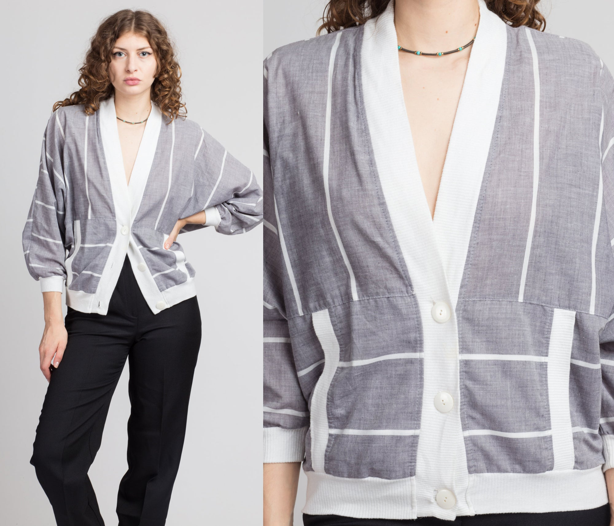 80s Gray & White Striped Lightweight Cardigan - Medium