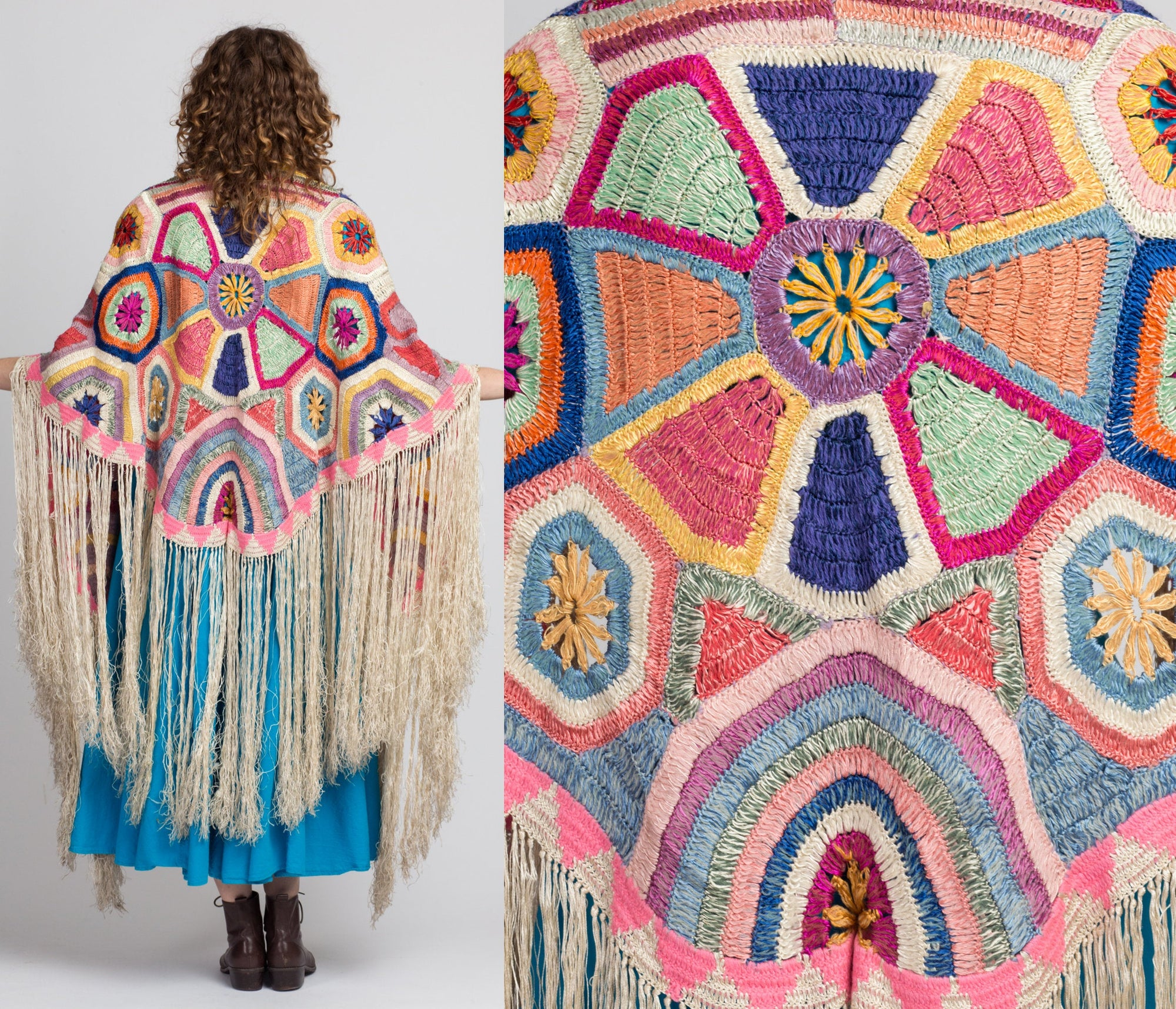 1920s Colorful Silk Crochet Fringe Piano Shawl