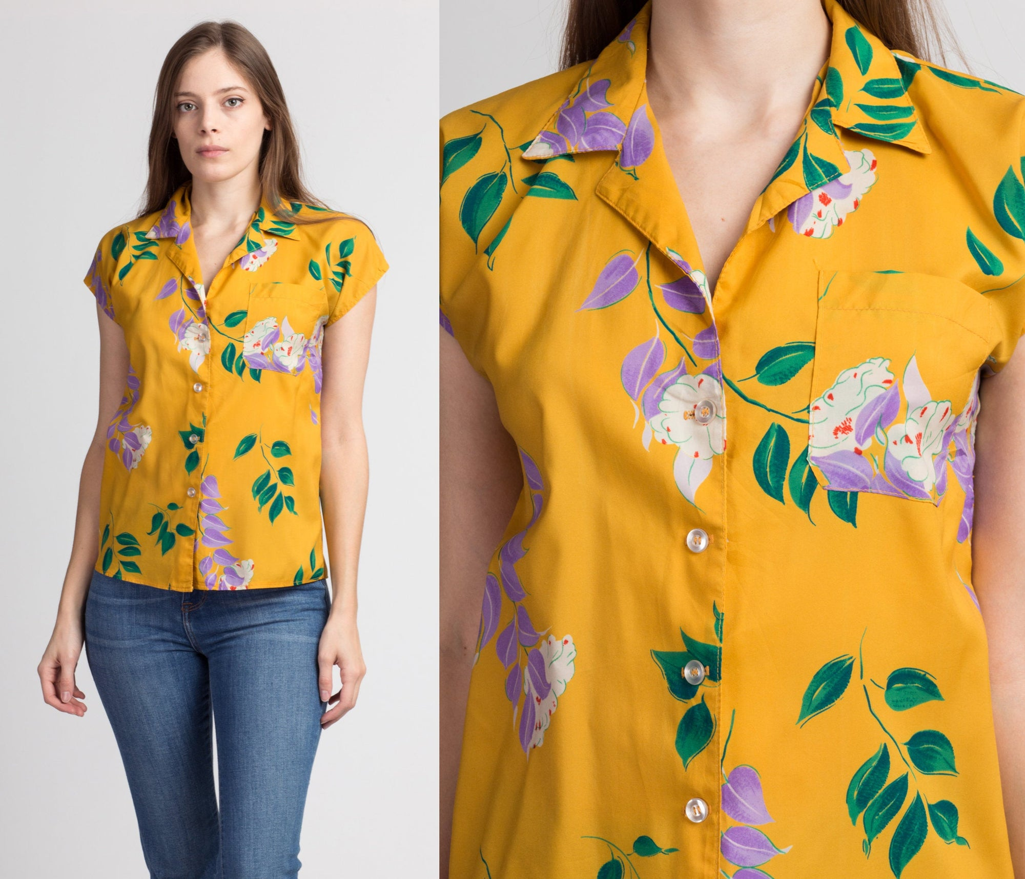 70s Yellow Floral Blouse - Small