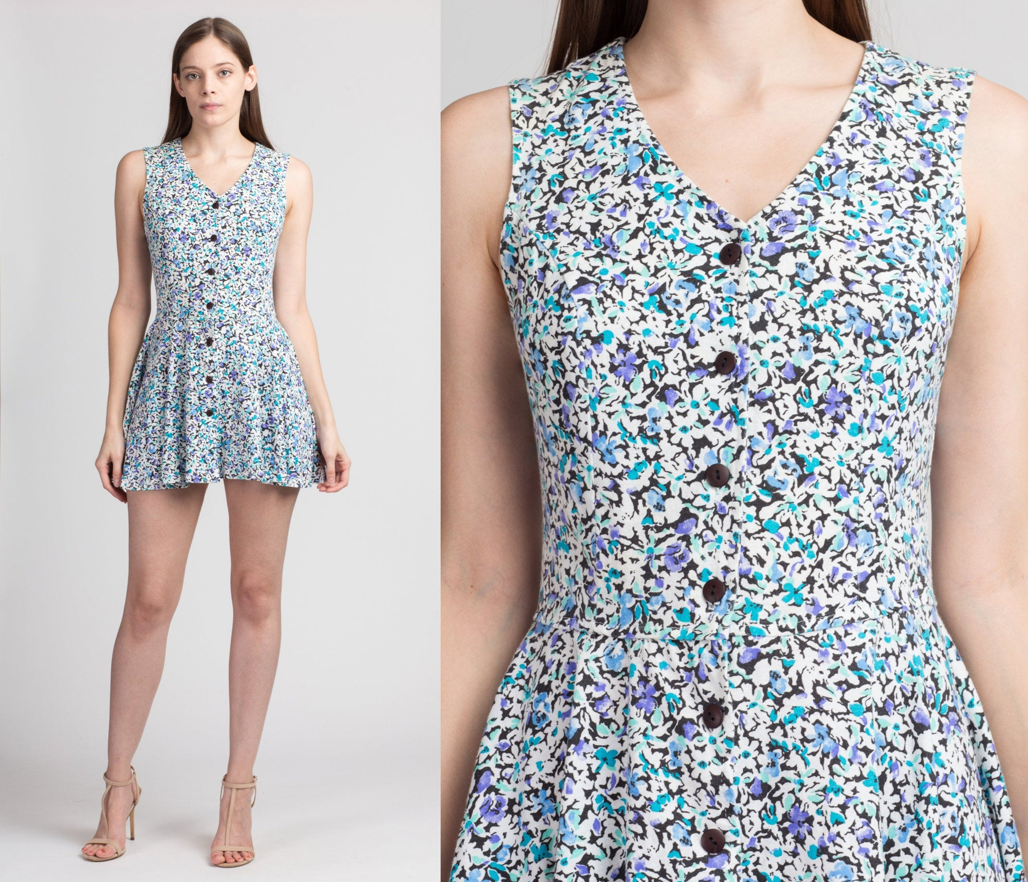 90s Floral Micro Mini Dress - Petite Small to Medium