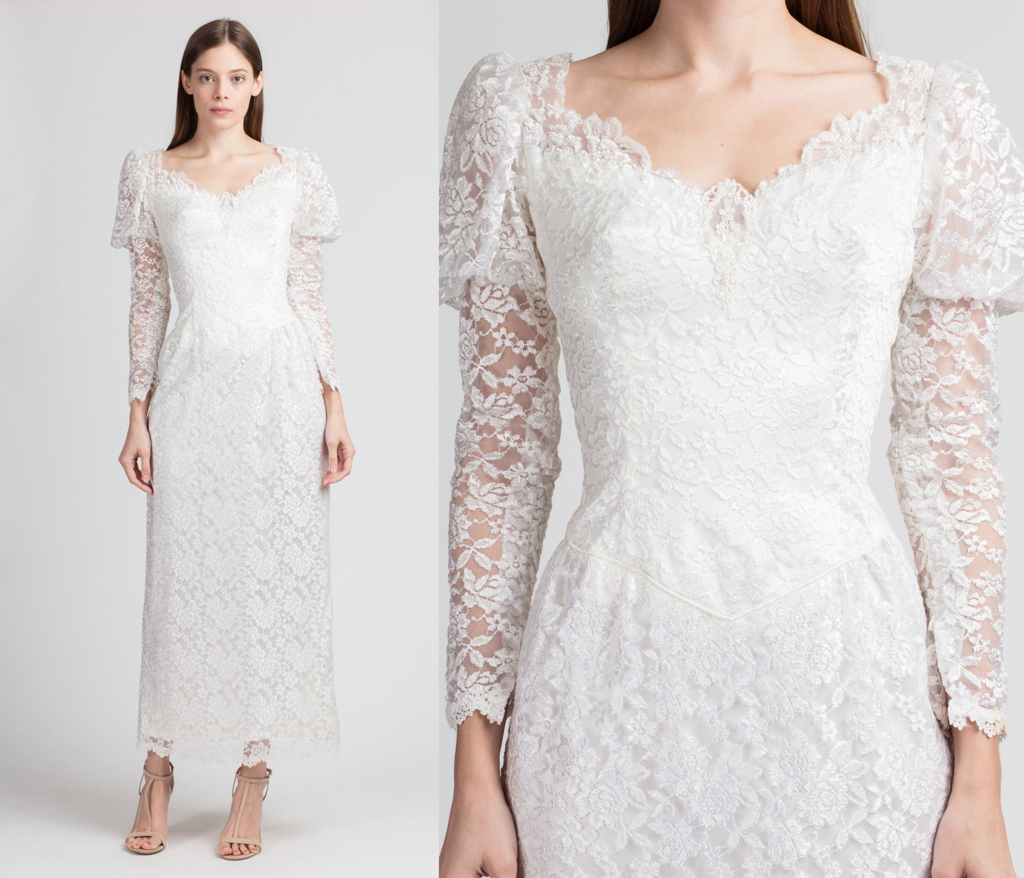 Vintage 80s White Lace Wedding Dress - Extra Small