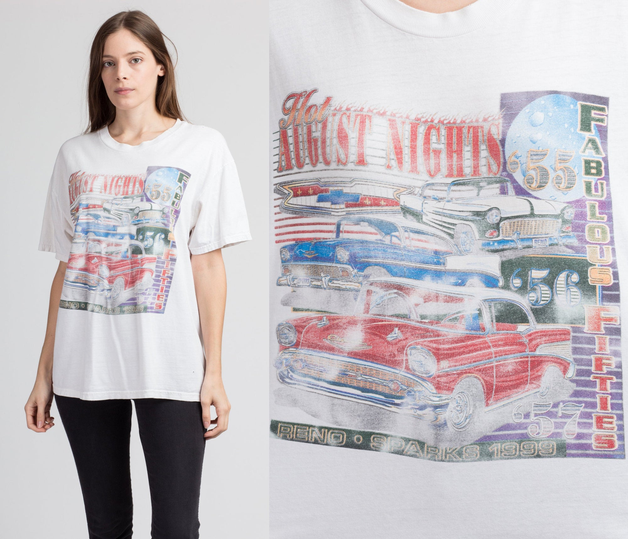90s Hot August Nights Classic Car Tee - Men's Large