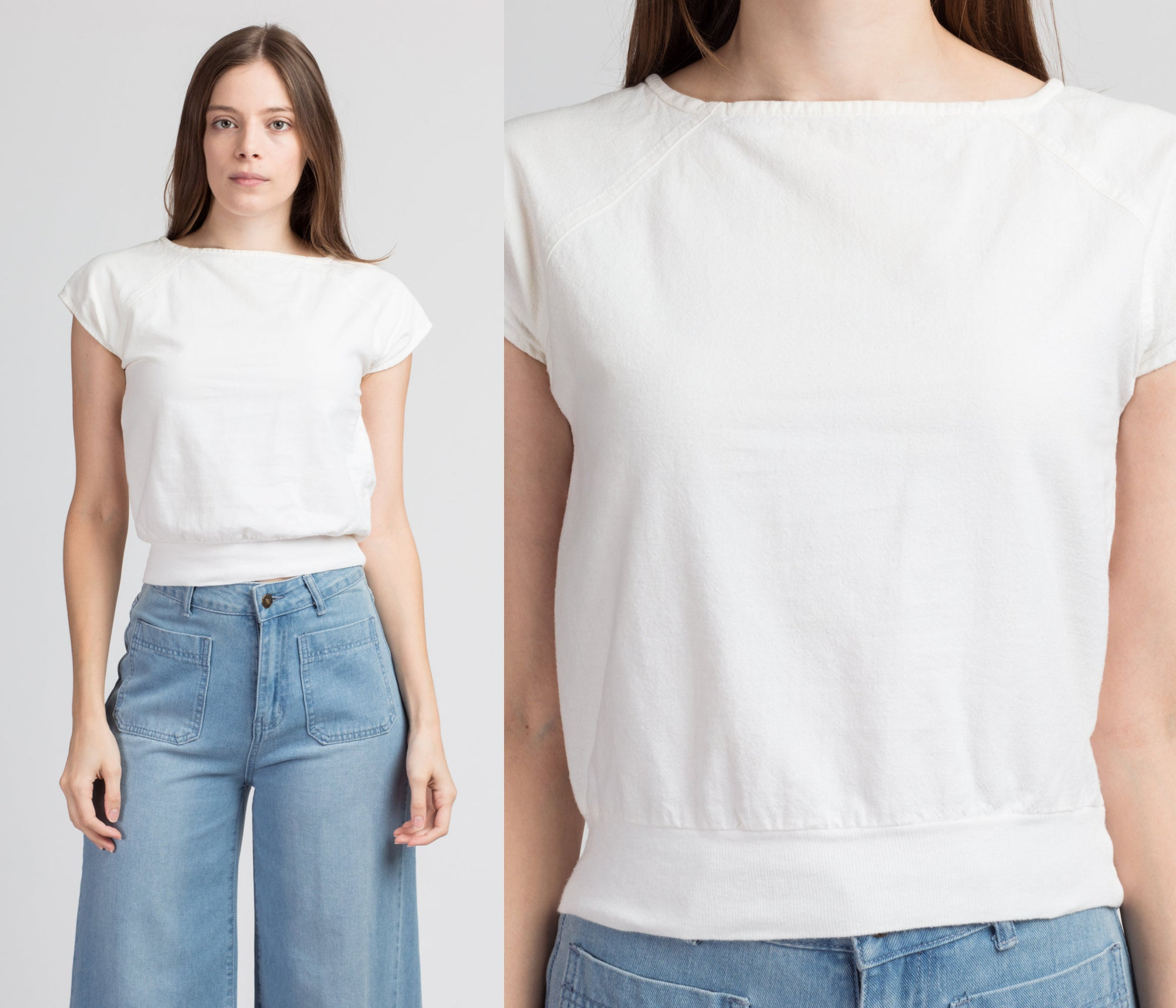 80s White Cotton Crop Top - Extra Small