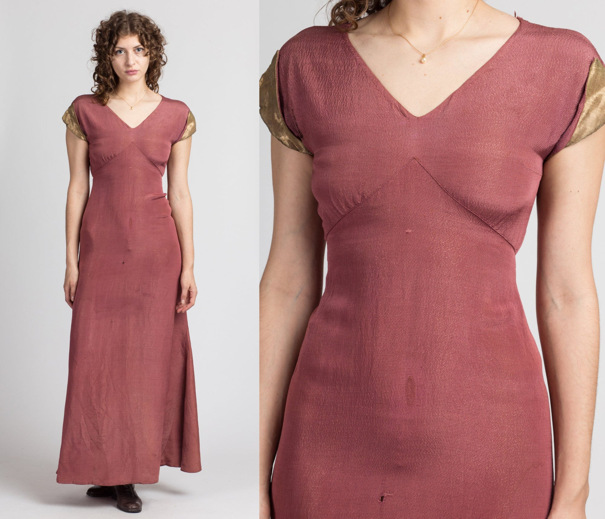 1930s Dusty Rose Cap Sleeve Dress - Extra Small