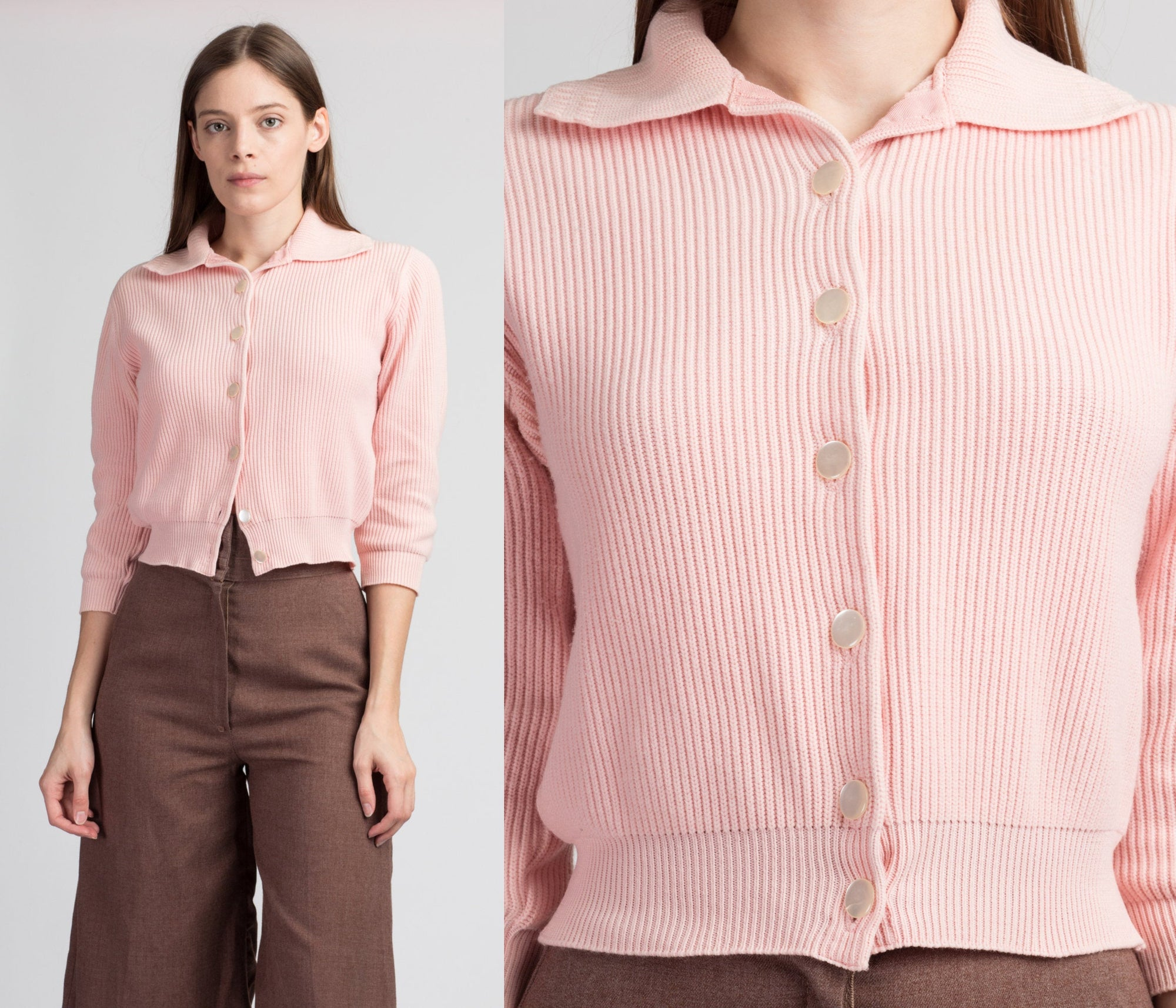 60s Cropped Pink Knit Cardigan - Extra Small