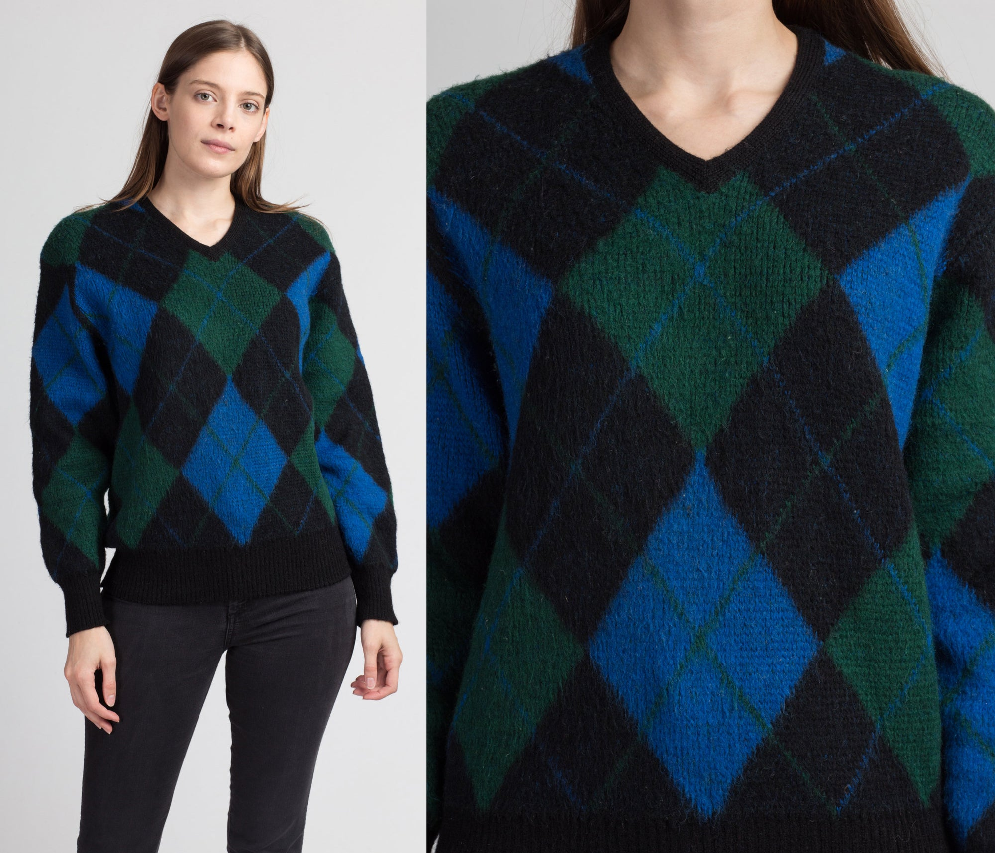 70s Argyle Wool Sweater - Large
