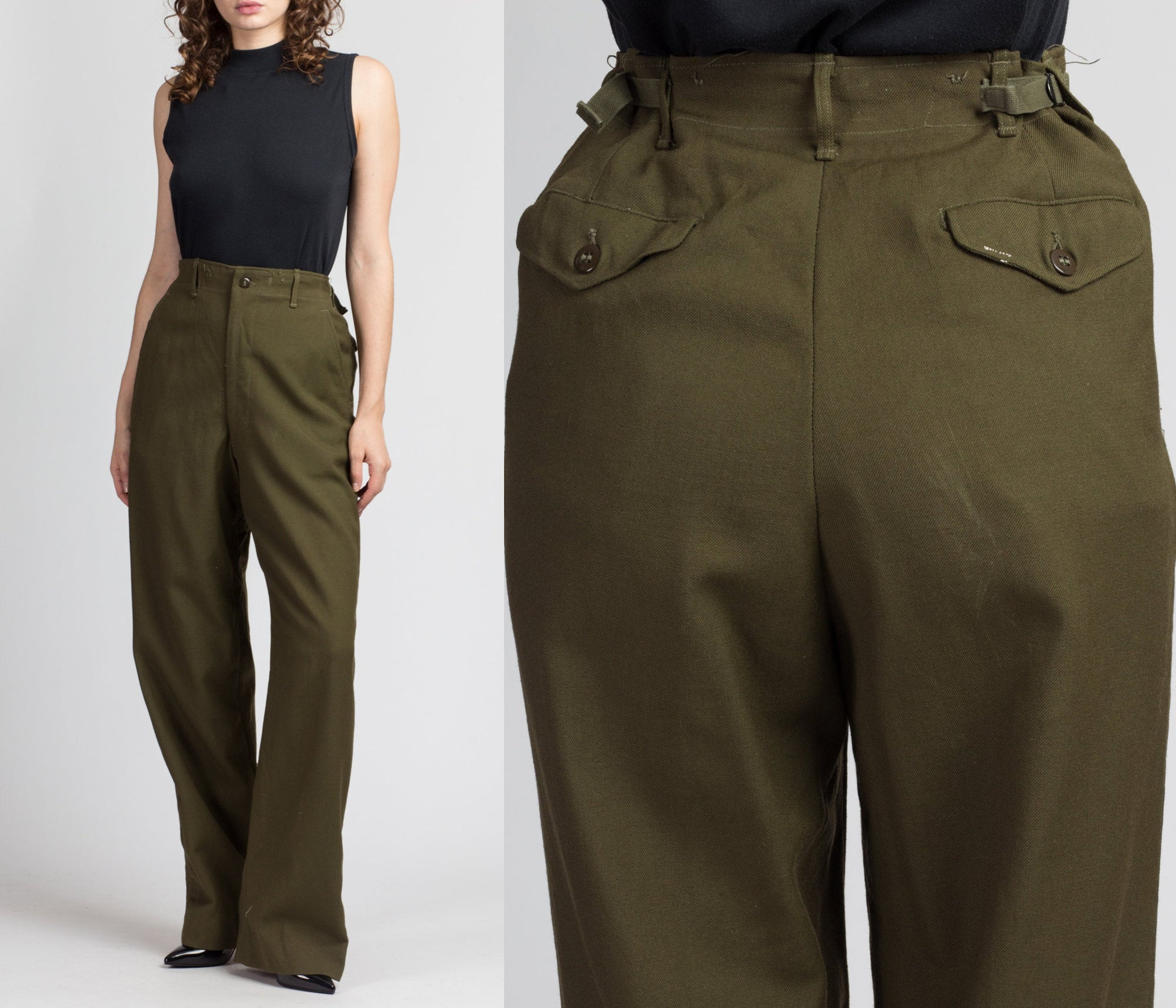 "Vintage 1950s Olive Wool Army Field Pants - Men's Small Long, 27""-31"""