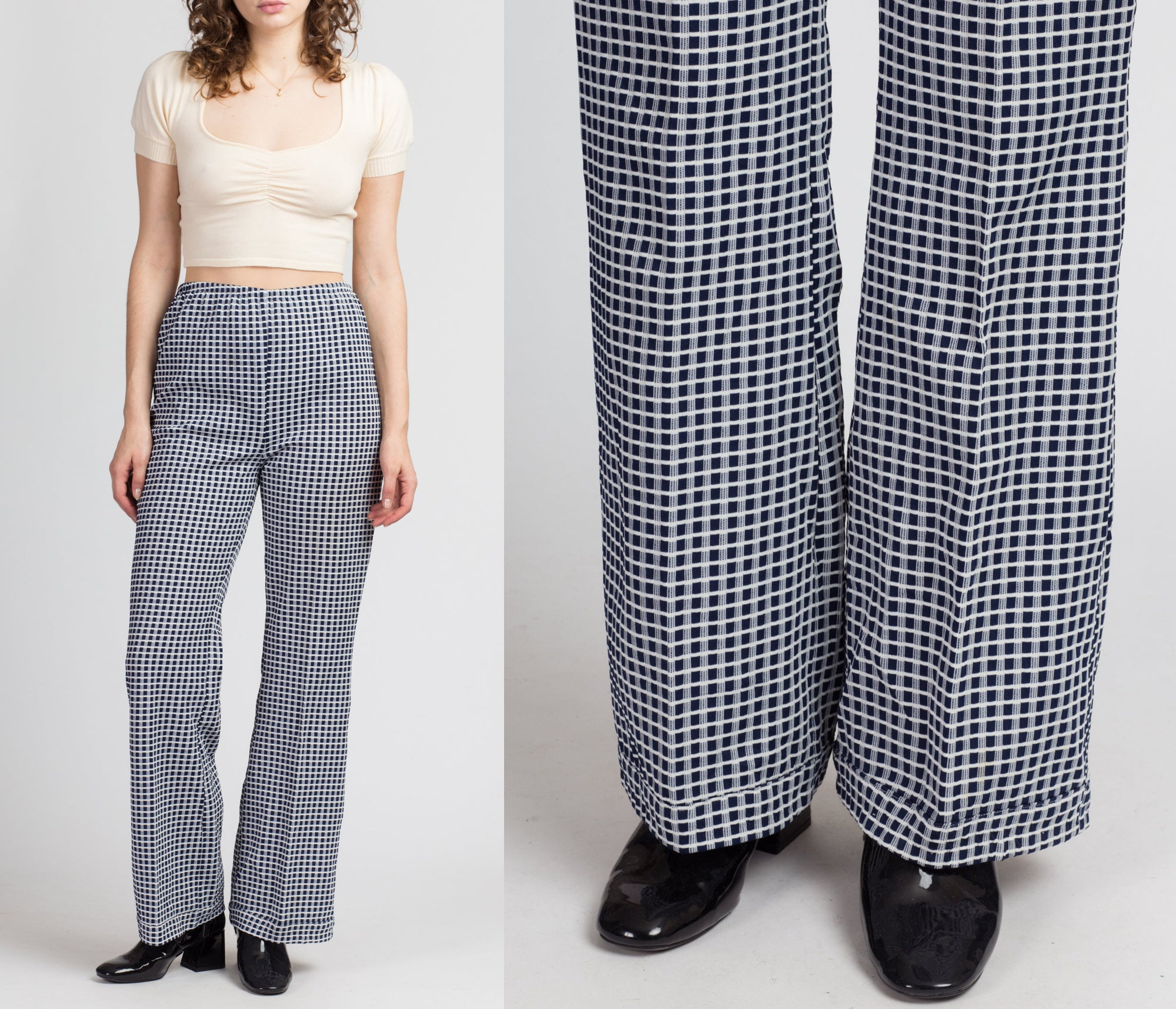 70s Blue & White Checkered Trousers - Medium to Large