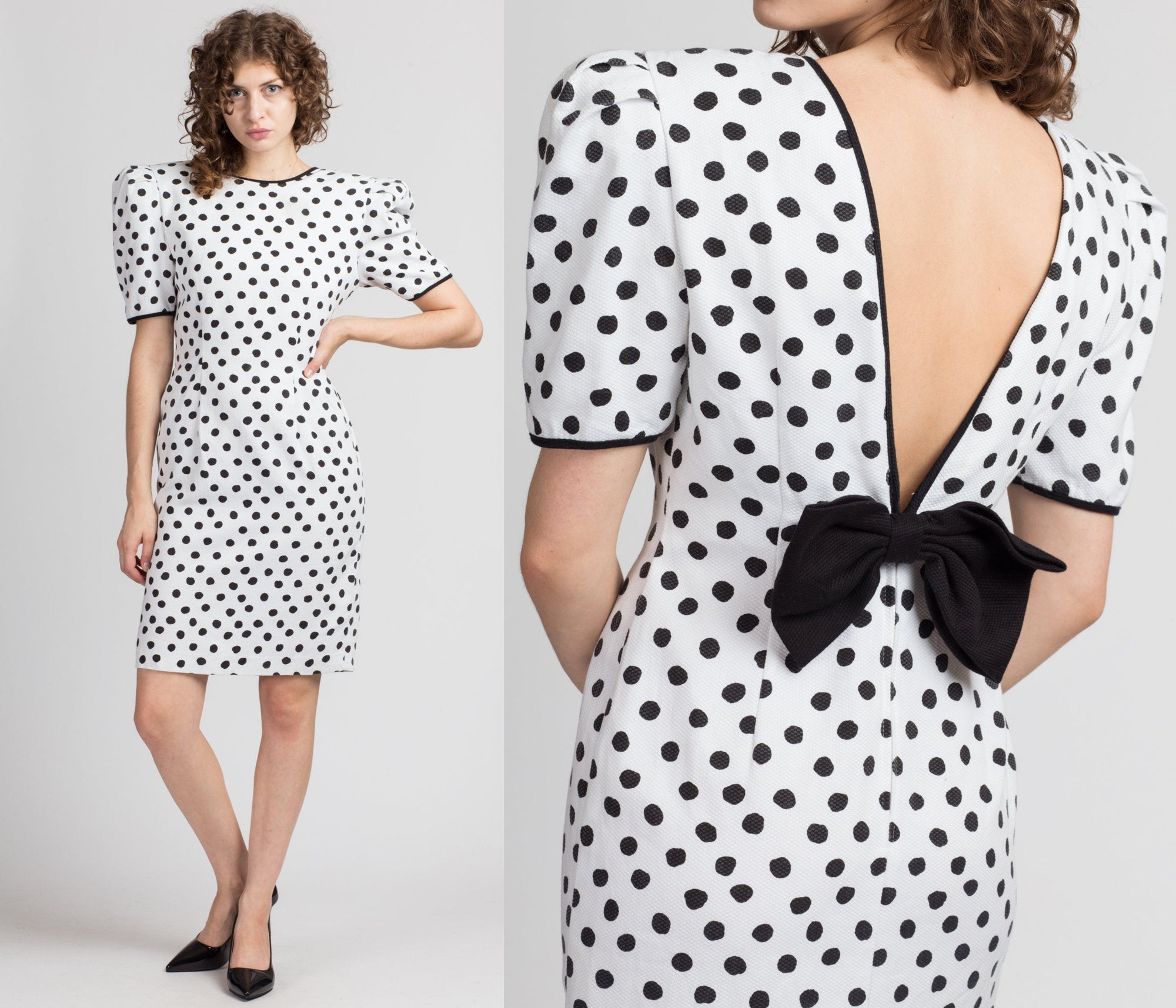 80s Polka Dot Low Back Party Dress - Medium