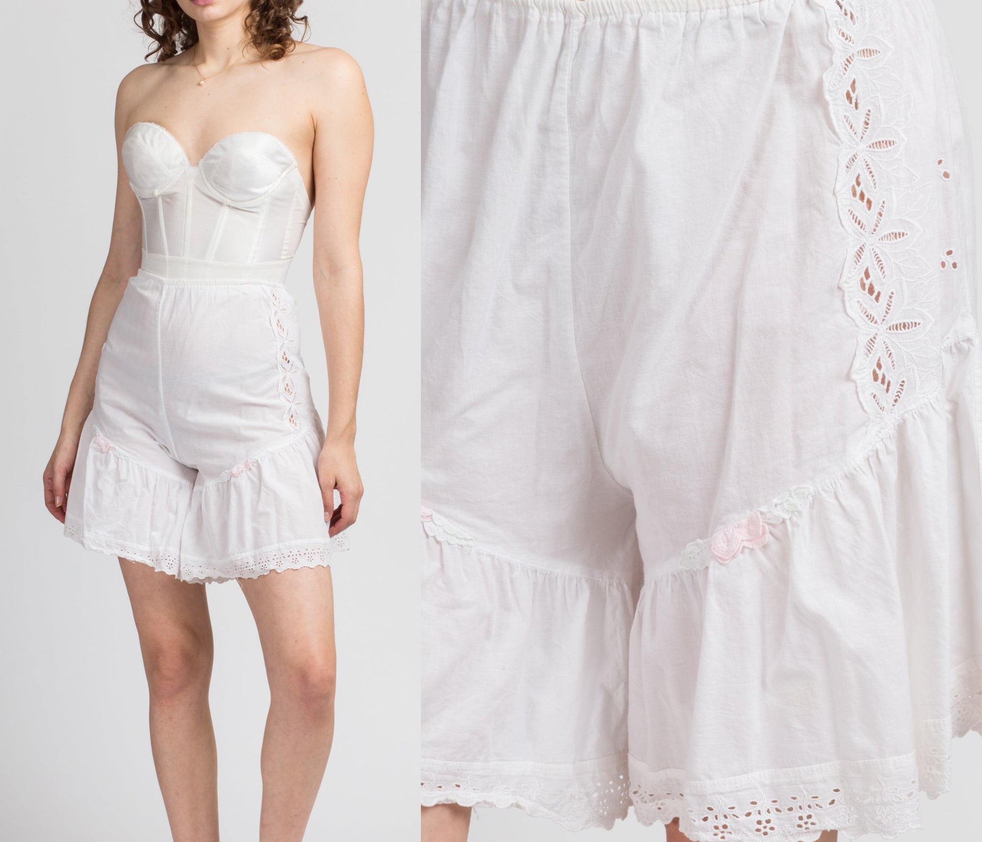 70s White Eyelet Lace Ruffled Bloomers - XL to XXL