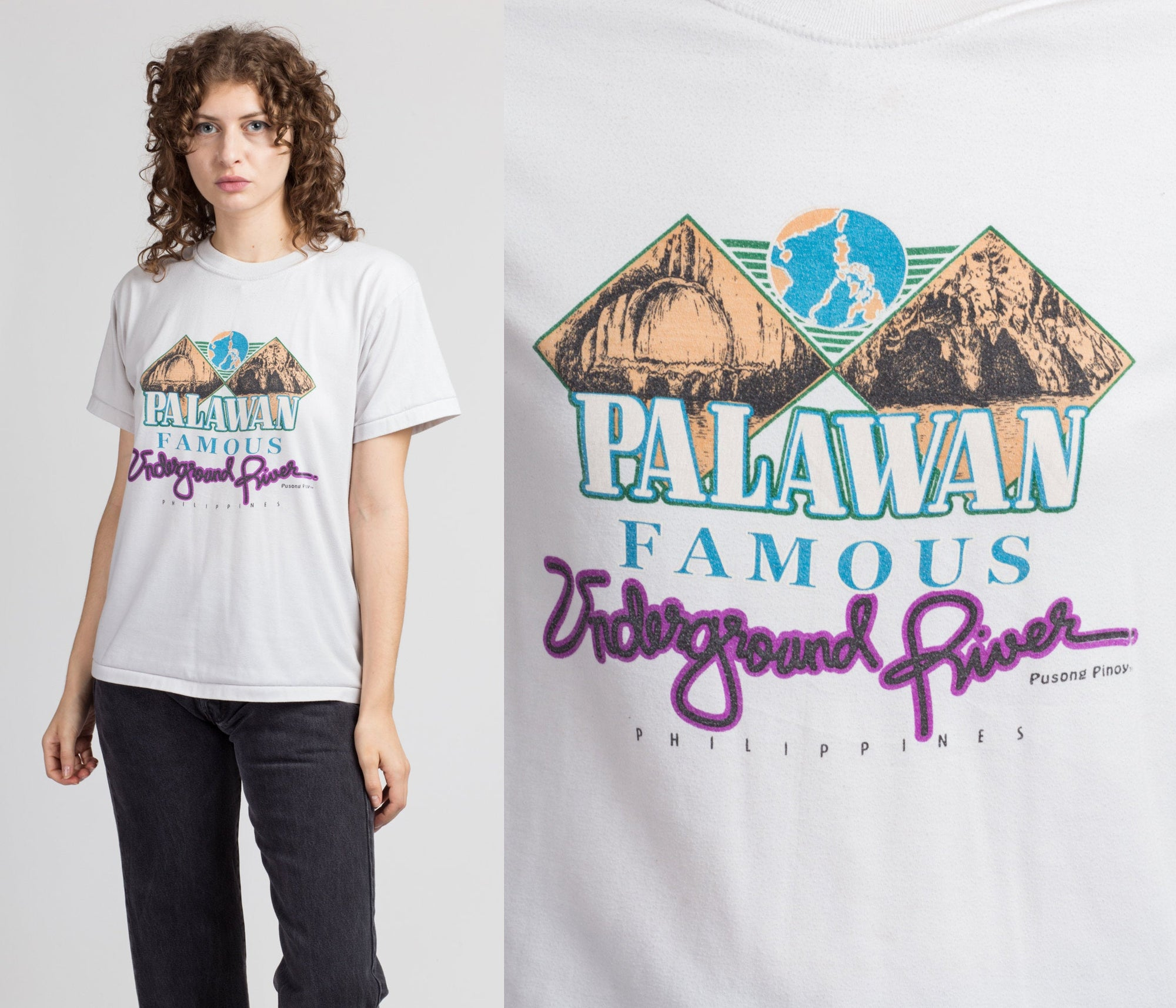 90s Palawan Underground River T Shirt - Men's Medium