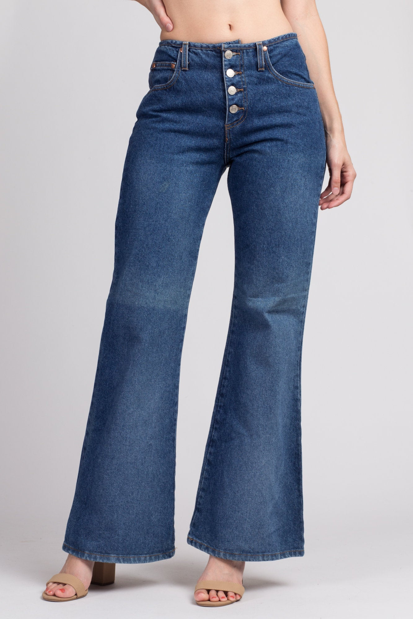 90s Does 70s Bell Bottom Jeans - Small