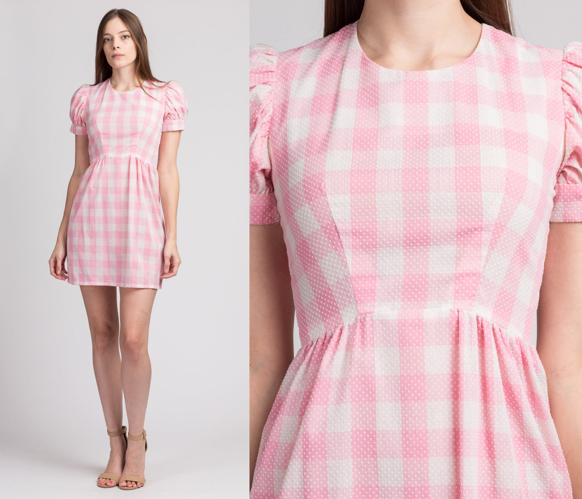 60s Pink & White Gingham Babydoll Mini Dress - Extra Small