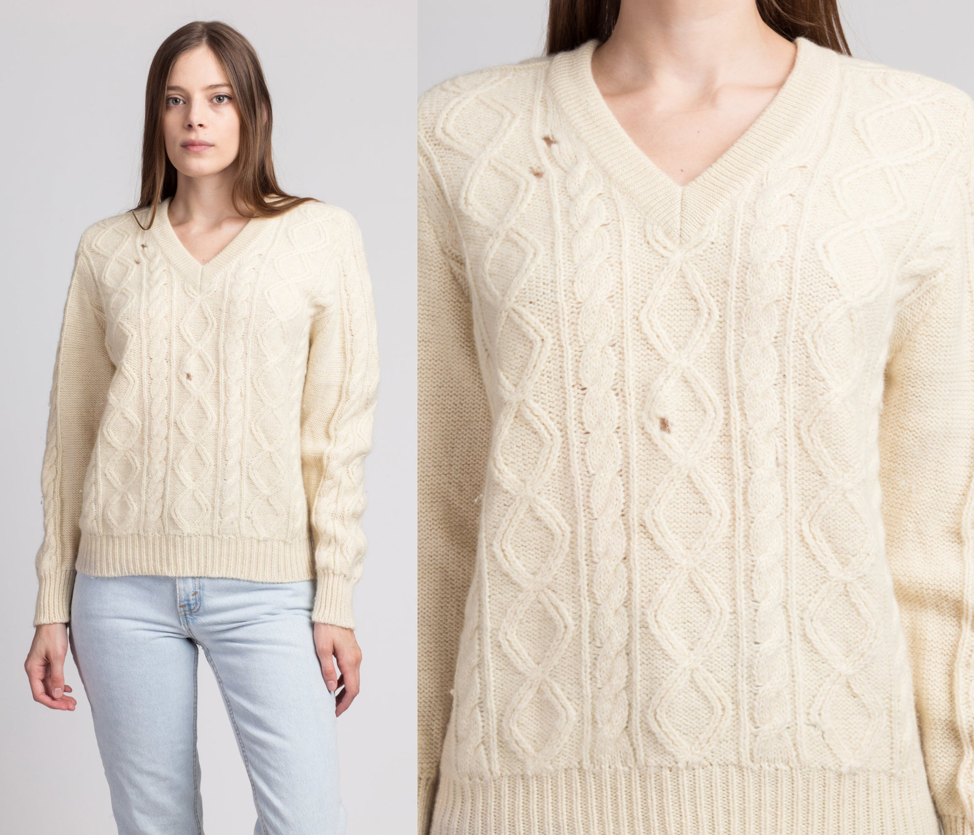 70s Cable Knit Fisherman Sweater - Small