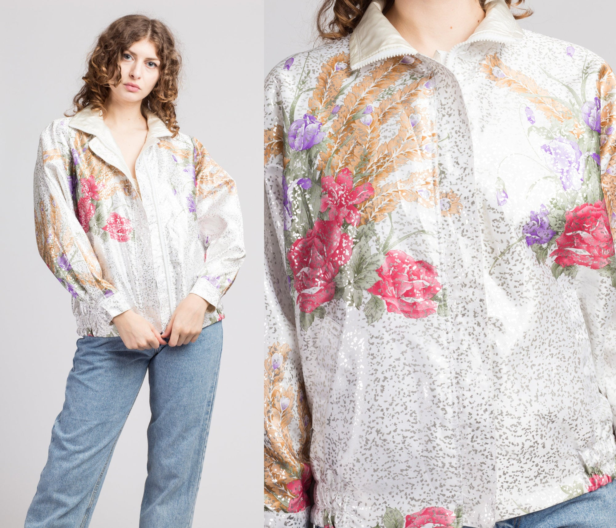 80s Shiny Reversible Floral Windbreaker - One Size