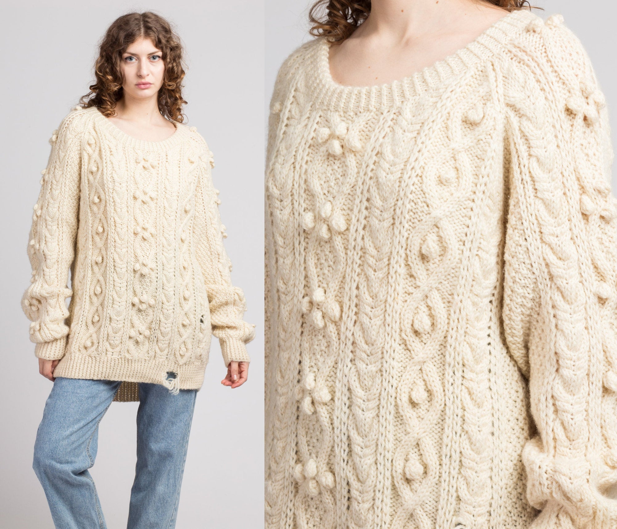 80s Popcorn Cable Knit Slouchy Sweater - Extra Large