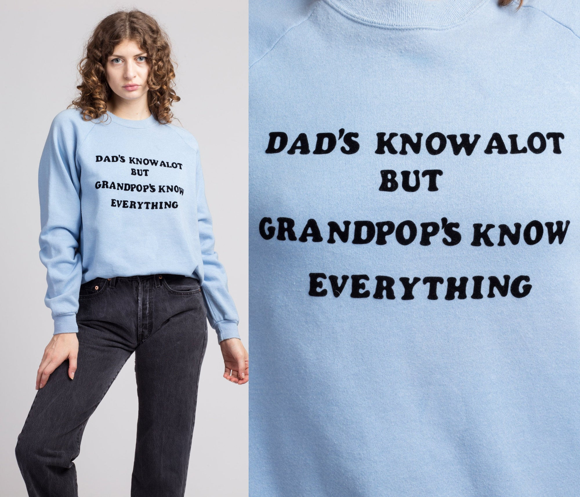 "80s ""Dads Know A Lot But Grandpops Know Everything"" Graphic Sweatshirt - Men's Medium"