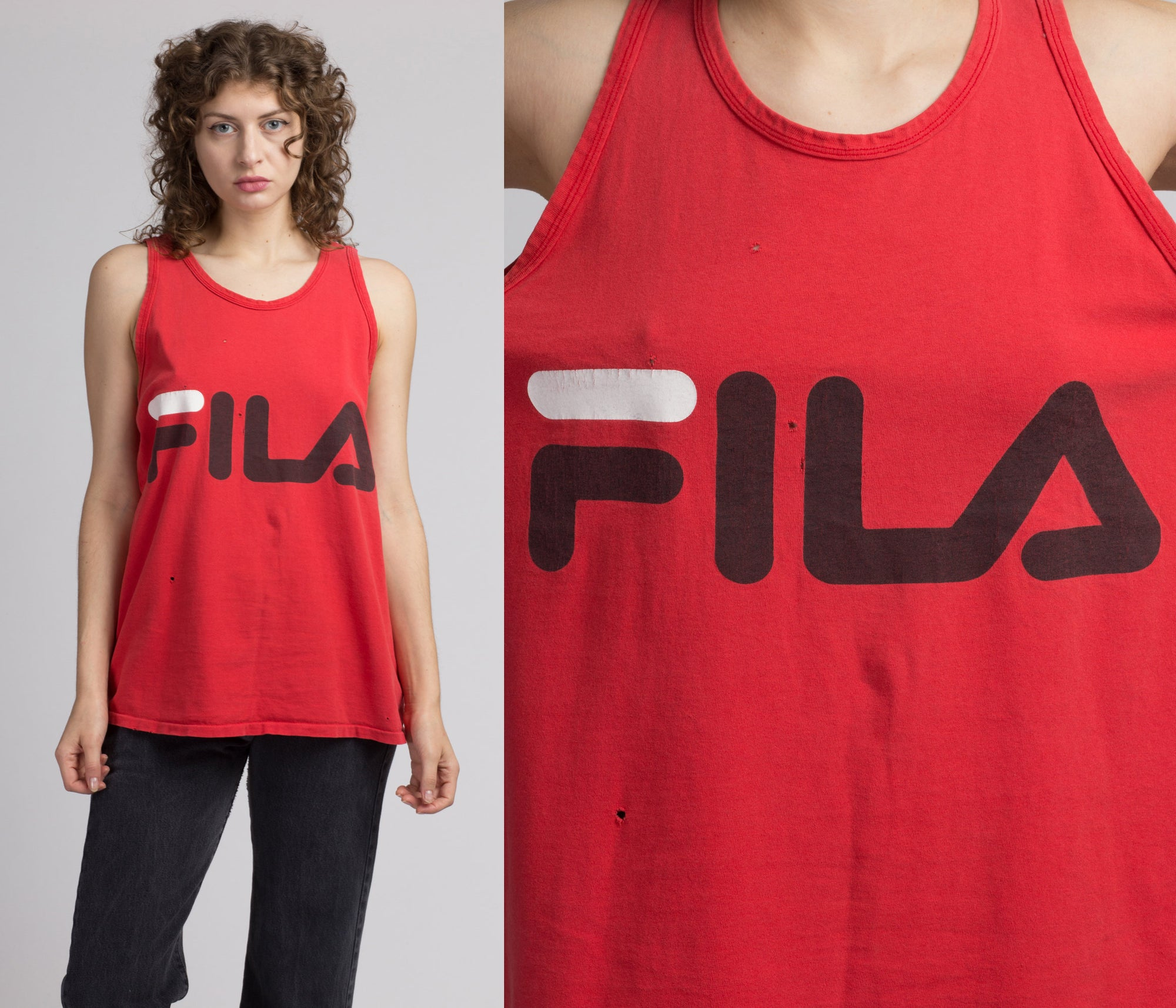 90s Fila Logo Tank Top - Men's Medium