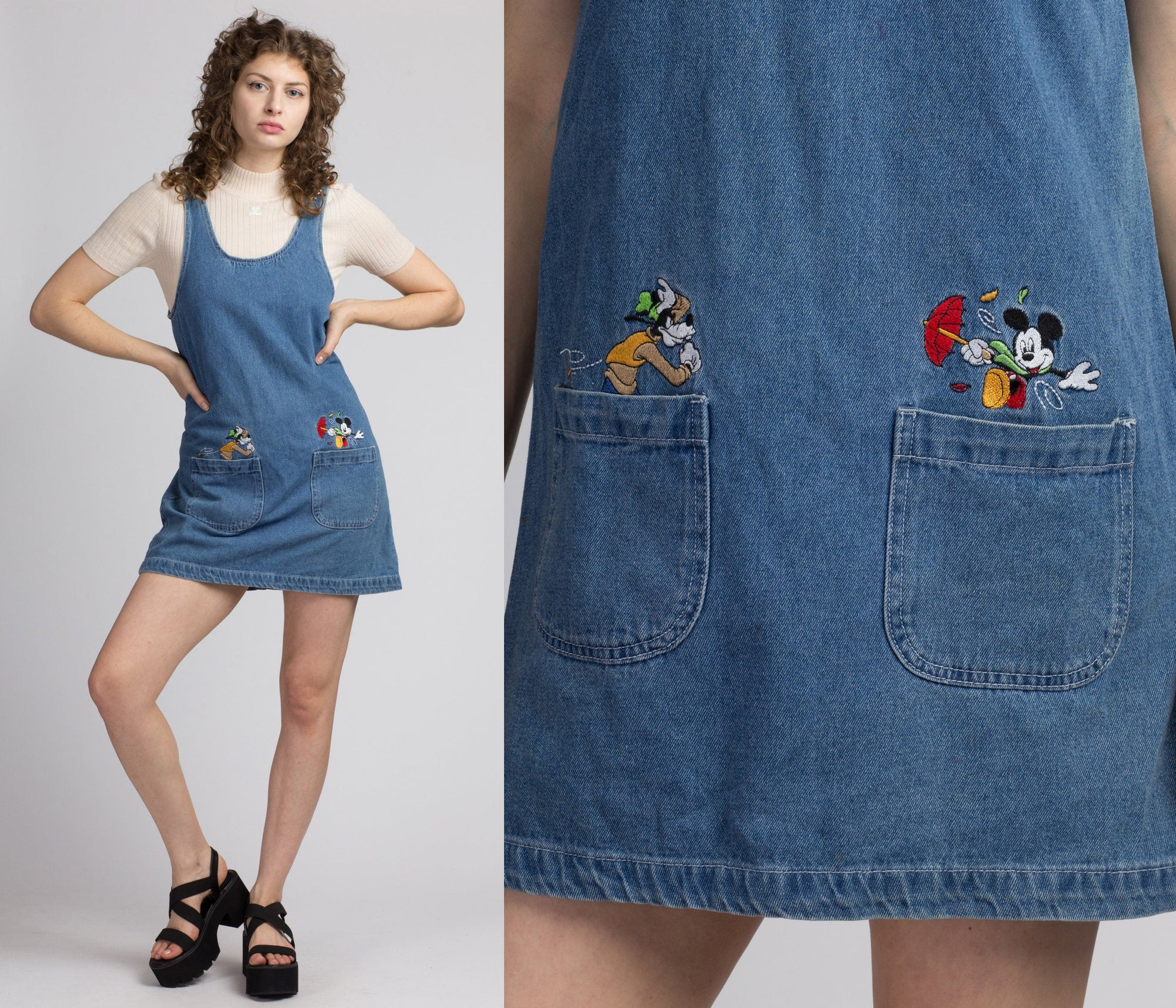 90s Mickey Mouse Windy Day Denim Pinafore - Small