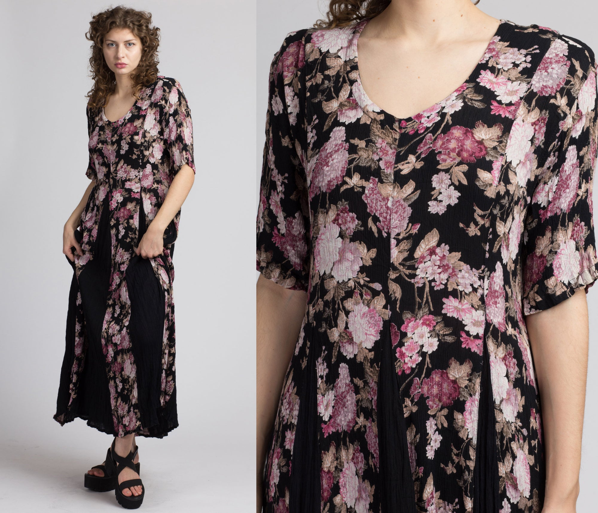 90s Boho Black Floral Maxi Dress - Large